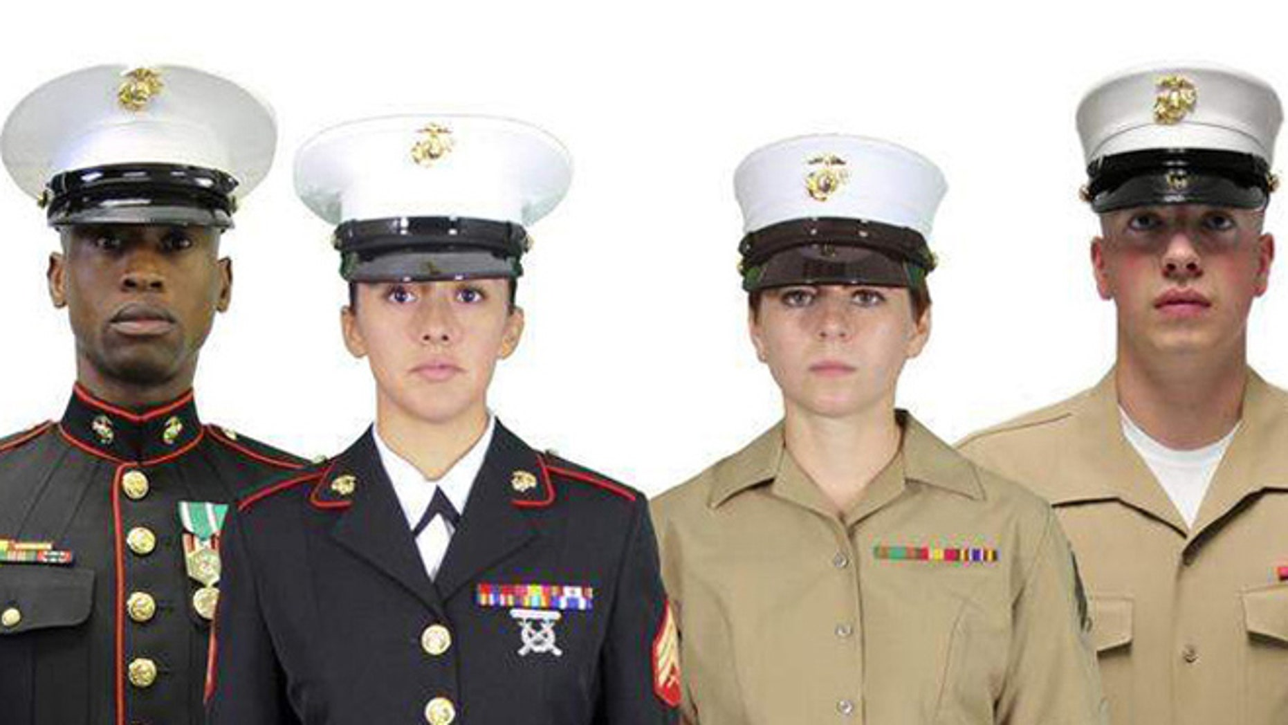 Shown here are the old Marine hats, left, compared to the new ones, right.