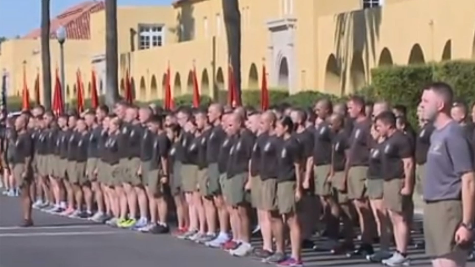 Recruits are pictured at Marine Corps Recruit Depot in San Diego, where more than 300 cases of E. coli have been reported.