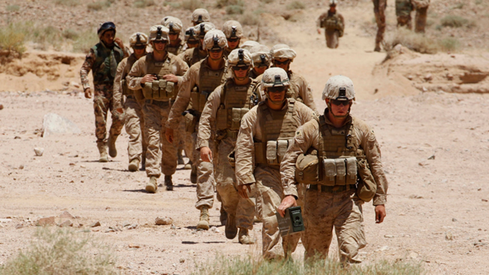 This June 16, 2013 file photo shows U.S. Marines from 26th Marine Expeditionary Unit in Jordan.