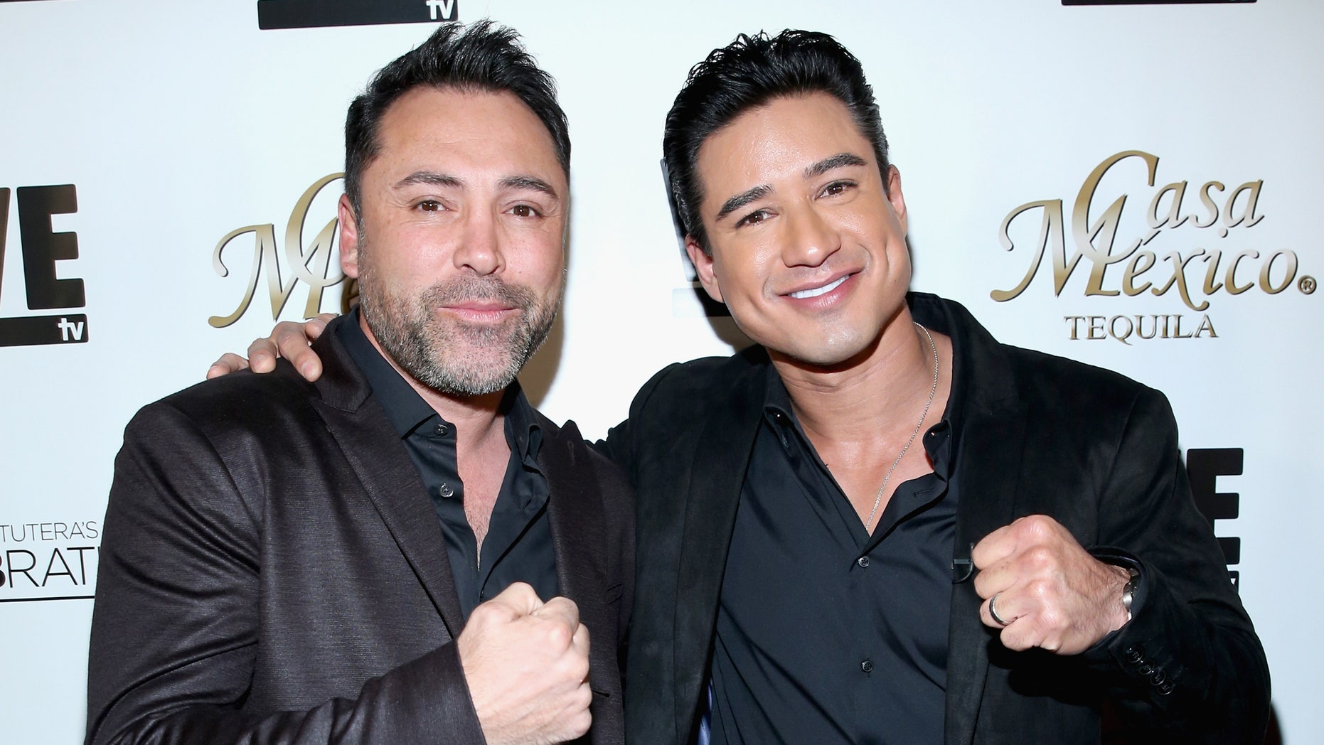 Oscar De La Hoya and Mario Lopez on November 6, 2015 in Hollywood, California.
