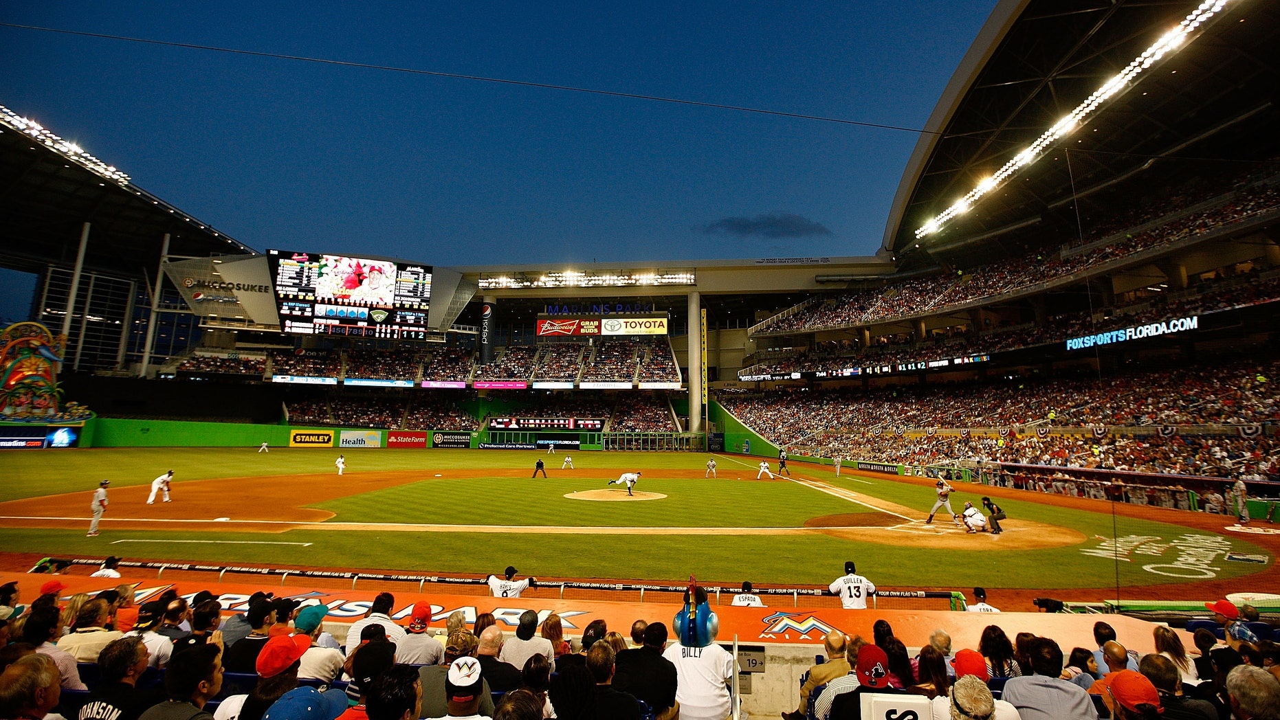 MIAMI, FL - APRIL 04:  A general view of Marlin's Park during Opening Day between the Miami Marlins and the St. Louis Cardinals at Marlins Park on April 4, 2012 in Miami, Florida.  (Photo by Mike Ehrmann/Getty Images)