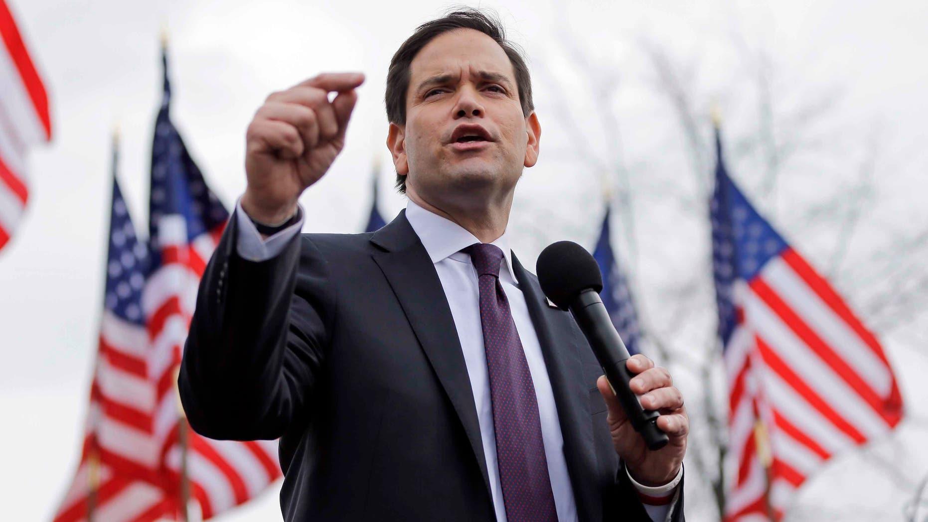 Republican candidate Sen. Marco Rubio at a rally Sunday, Feb. 21, 2016, in Franklin, Tenn.