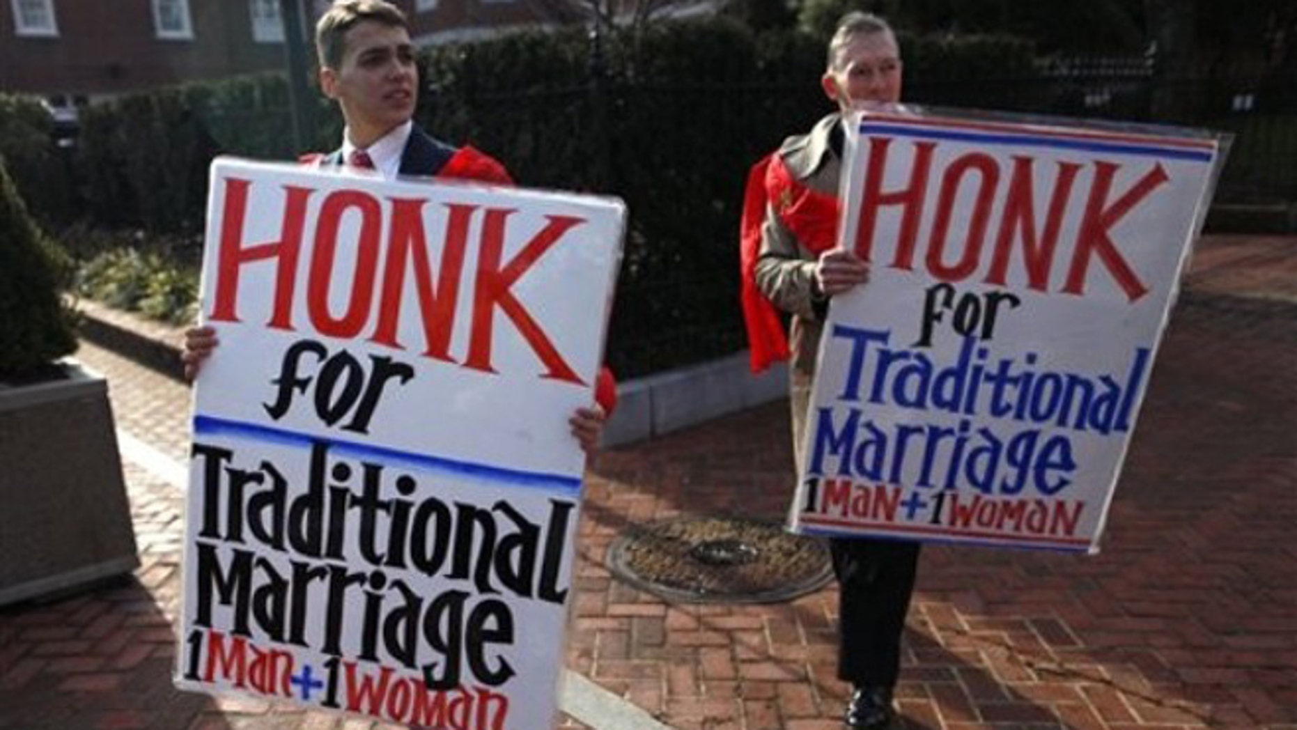 Feb. 17, 2012: Protesters demonstrate against a gay marriage bill before the Maryland State House in Annapolis, Md.