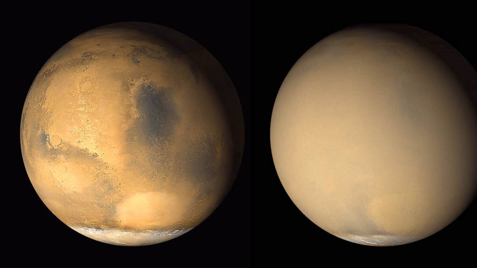 Two images by NASA's Mars Global Surveyor orbiter taken in 2001 show a dramatic change in the Red Planet's appearance when haze raised by dust-storm activity in the south became globally distributed. The photos were taken about a month apart.