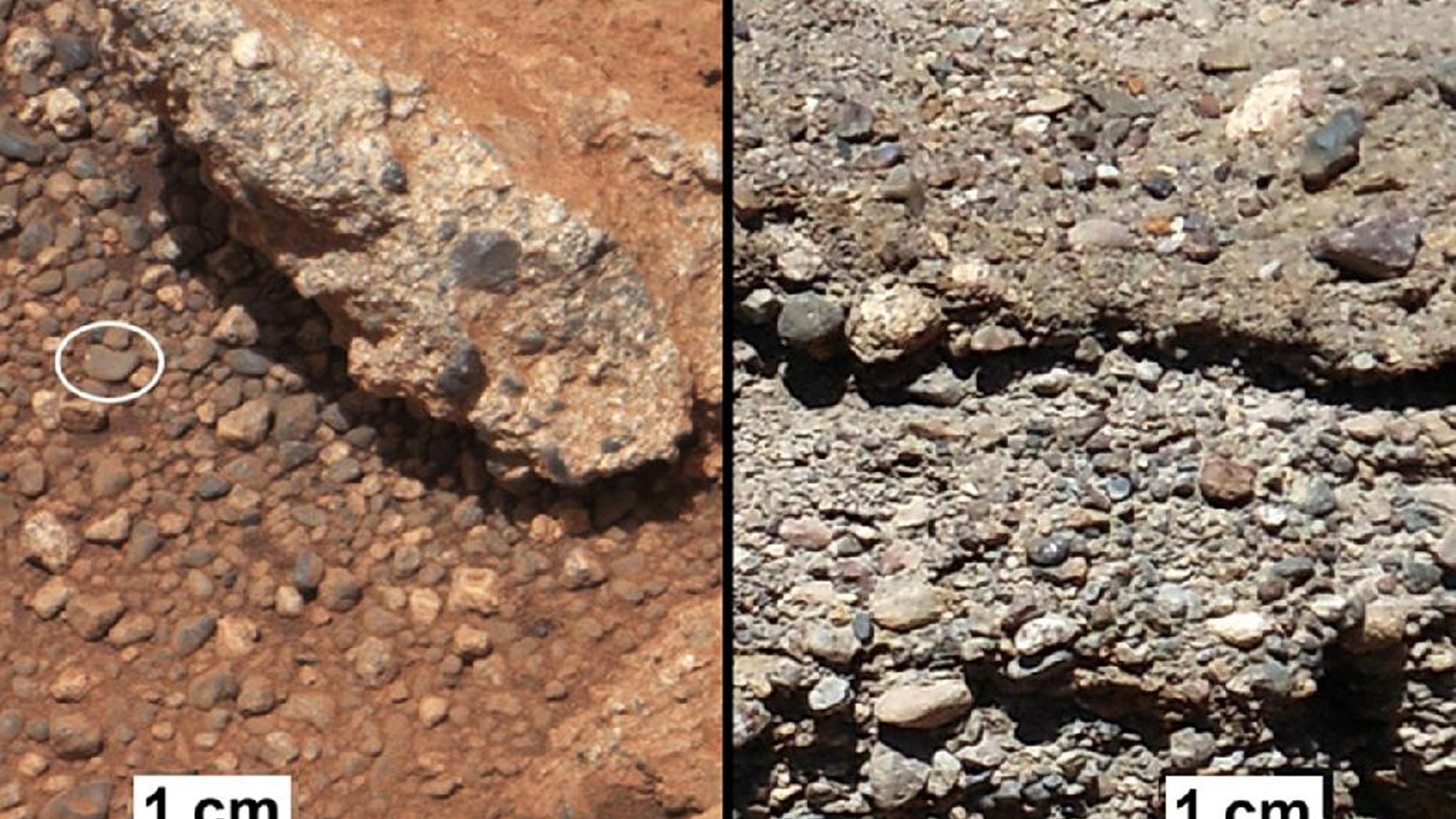 This image provided by NASA shows shows a Martian rock outcrop near the landing site of the rover Curiosity thought to be the site of an ancient streambed, next to similar rocks shown on earth. Curiosity landed in a crater near Mars' equator on Aug. 5, 2012, on a two-year mission to study whether the environment could have been favorable for microbial life. (AP Photo/NASA)