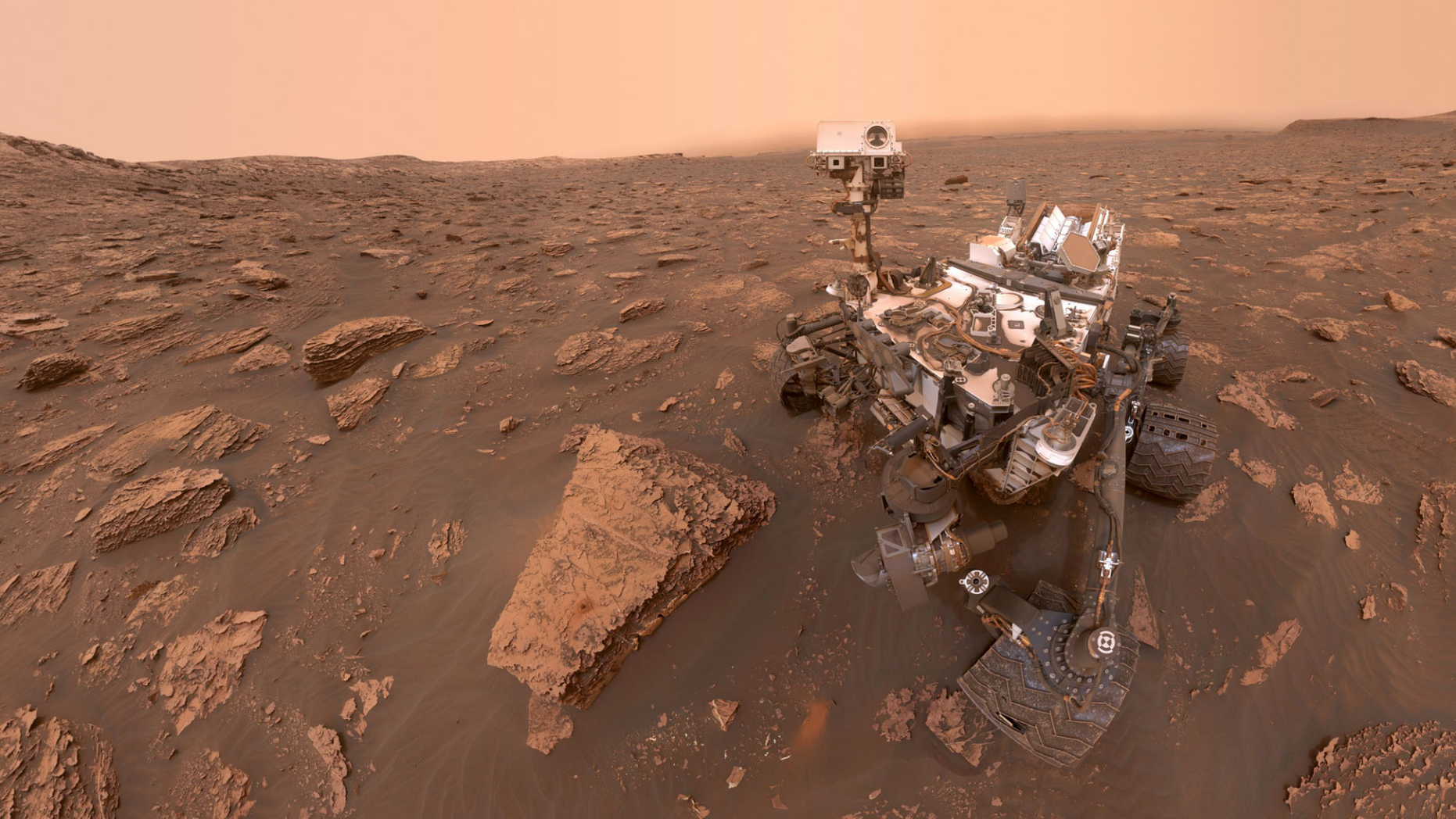 NASA's Mars rover Curiosity snapped this self-portrait on June 15, 2018 at Gale Crater during a growing dust storm. Since then, the dust storm has engulfed all of Mars.