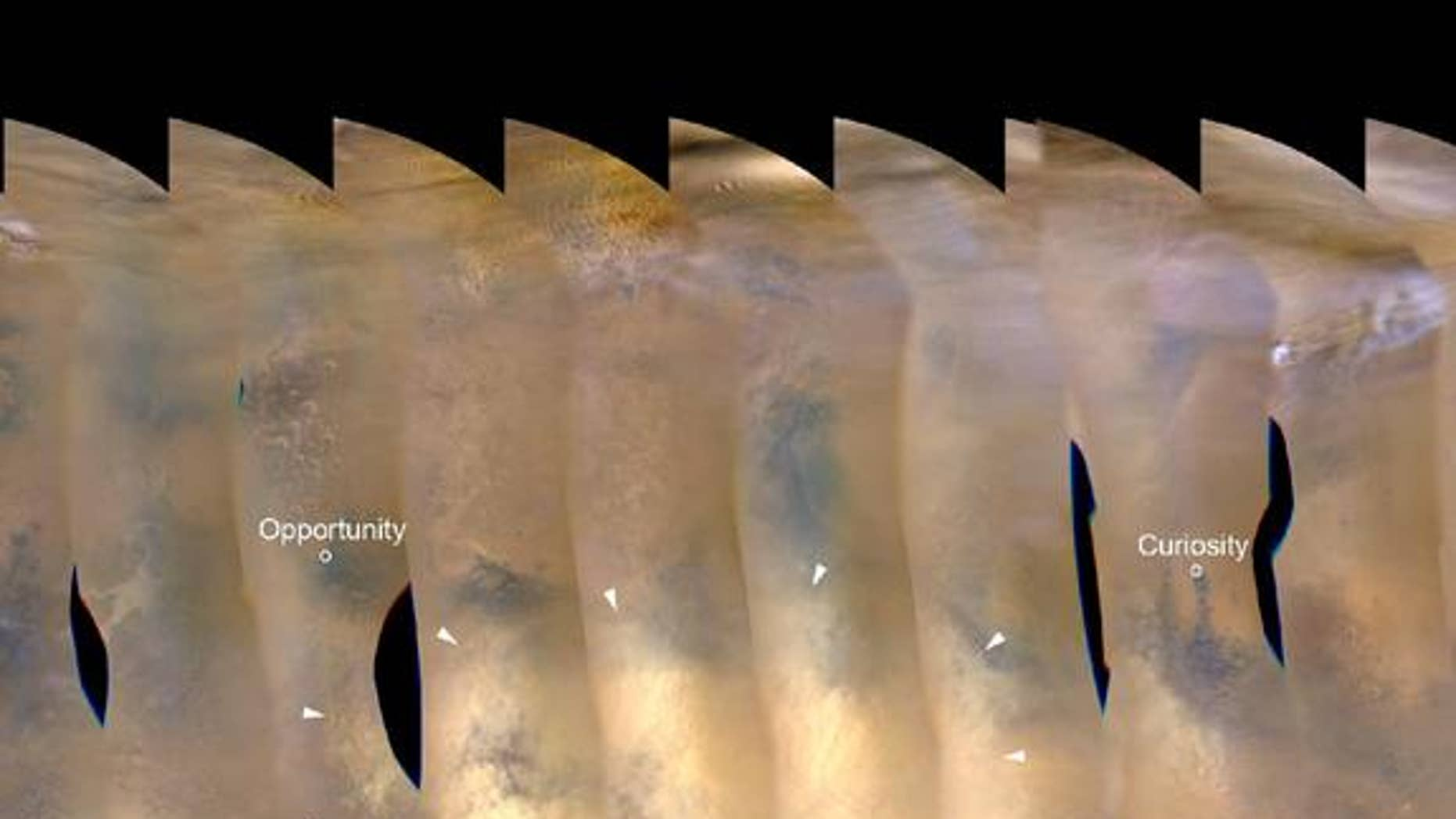 This nearly global mosaic of observations made by the Mars Color Imager on NASA's Mars Reconnaissance Orbiter on Nov. 18, 2012, shows a dust storm in Mars' southern hemisphere. Small white arrows outline the area where dust from the storm is ap