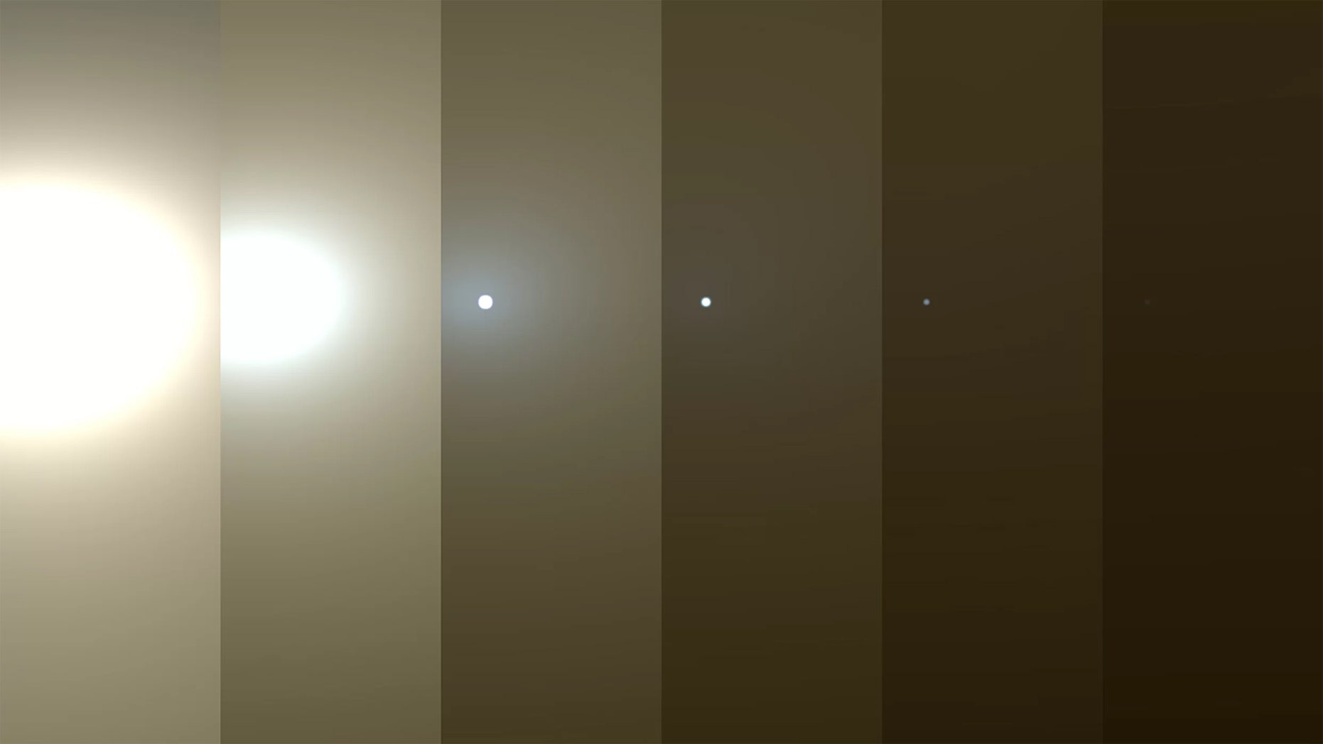 This series of images from NASA's Opportunity rover on Mars shows the effects of a huge dust storm blotting out the sun on the Red Planet in June 2018. At left, the sun appears blindingly bright but darkens as the dust storm intensifies. At the far right, the sun is a mere pinprick, with the dust storm in full swing. Credit: NASA/JPL-Caltech/TAMU