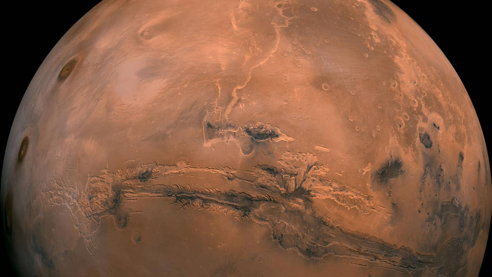 A mosaic of the Valles Marineris hemisphere of Mars. This view is similar to what one would see from a spacecraft, according to NASA.