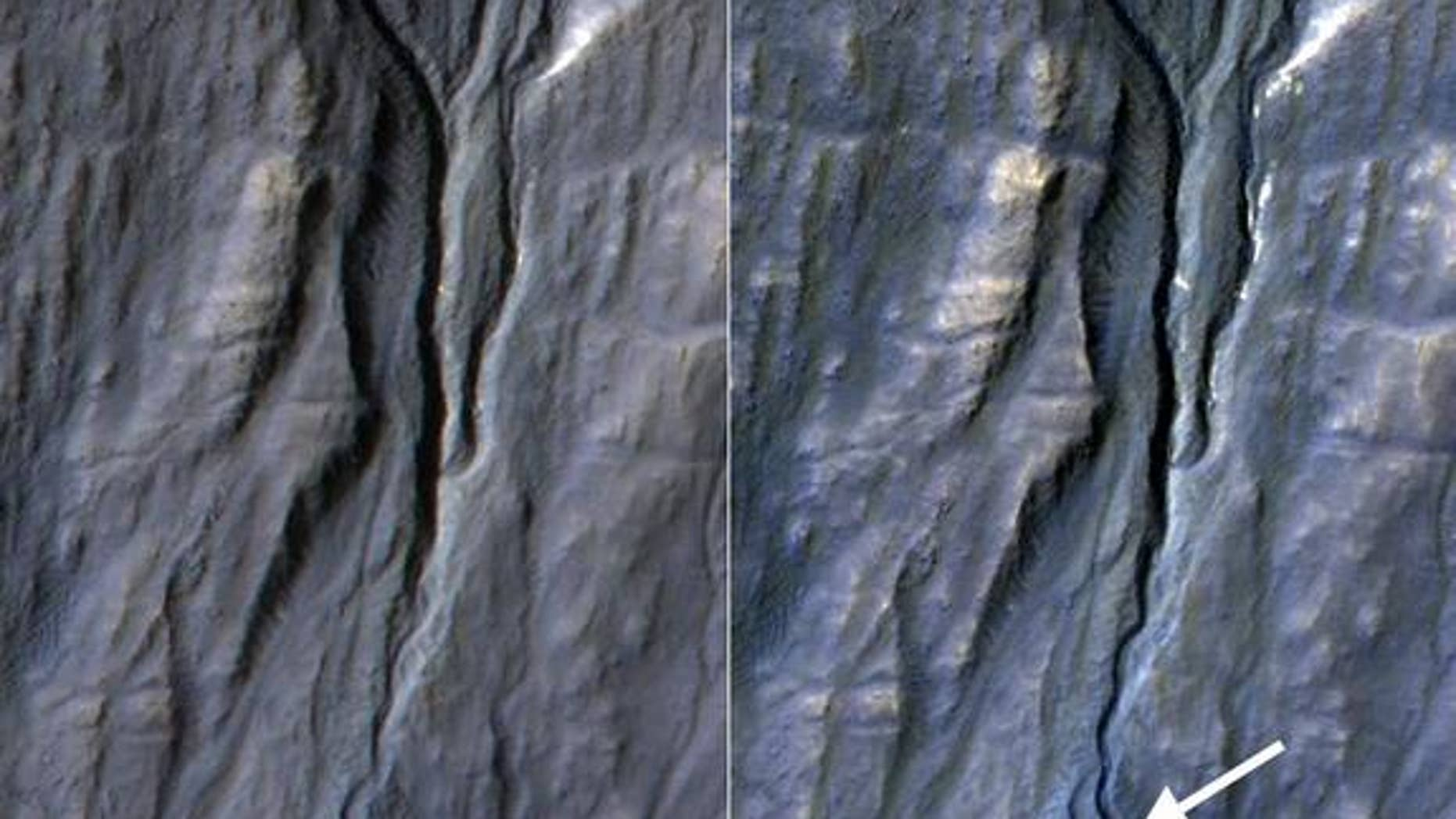 This pair of before (left) and after (right) images from the High Resolution Imaging Science Experiment (HiRISE) camera on NASA's Mars Reconnaissance Orbiter documents the formation of a substantial new channel on a Martian slope between Nov. 5