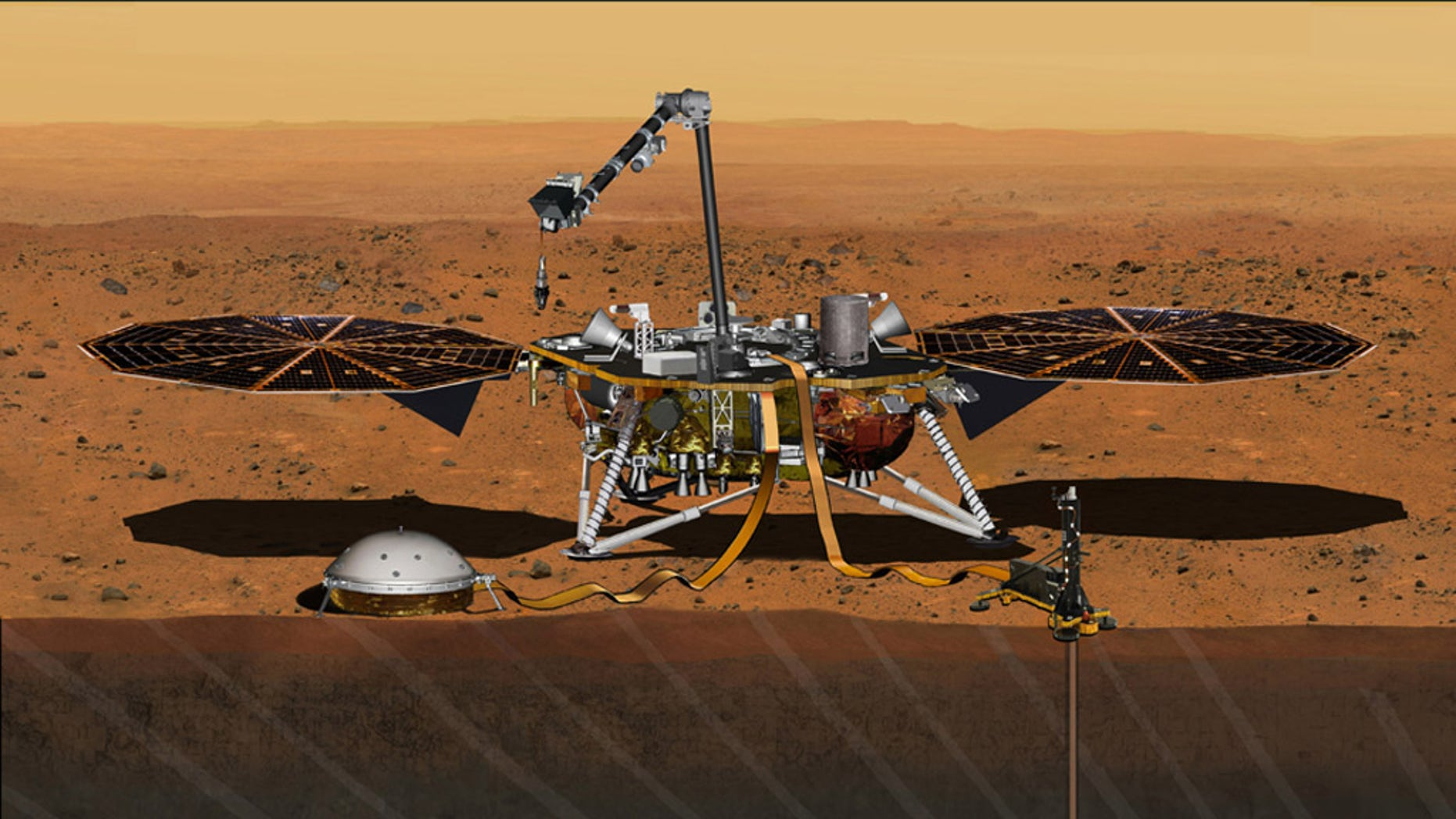 This artist's concept from August 2015 depicts NASA's InSight Mars lander fully deployed for studying the deep interior of the Red Planet. The lander is scheduled to launch in the spring of 2018.