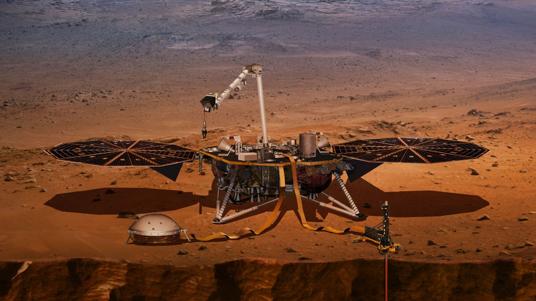 Artist's illustration of NASA's Mars InSight lander, which is scheduled to launch on May 5, 2018, to probe the Red Planet's interior structure.