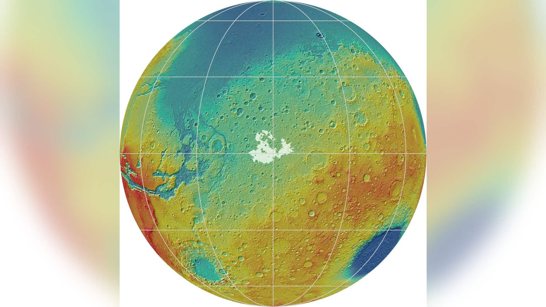 Mars' Meridiani Planum, along the planet's equator, is about 29,700 square miles (77,000 square kilometers) — approximately the size of South Carolina. Deposits on Meridiani Planum can be seen in white.