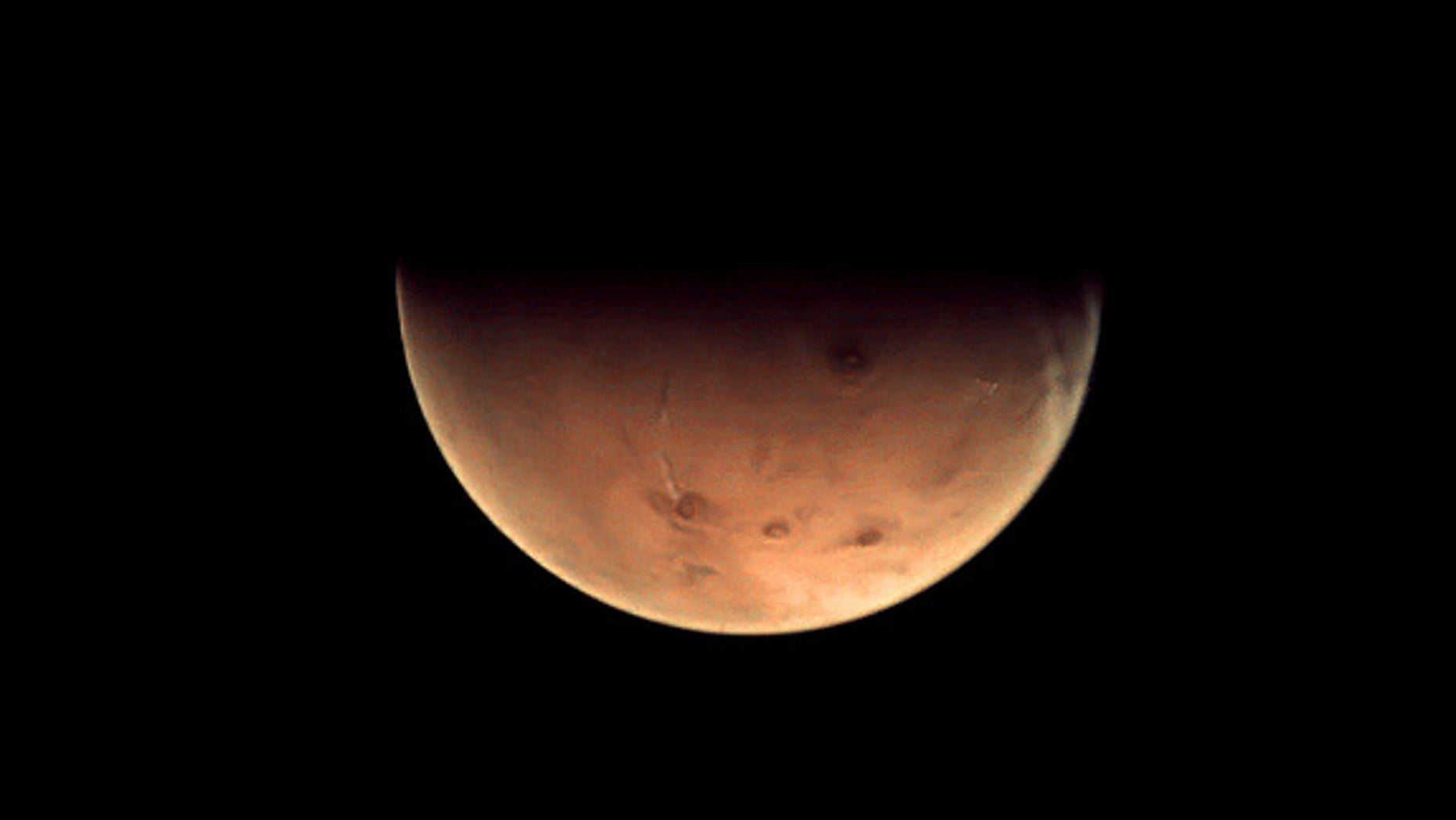 This Mars photo from ESA's Mars Express spacecraft was taken on Dec. 15, 2012, and beamed to Earth on Dec. 18. The spacecraft was 9.761 kilometers from Mars at the time.