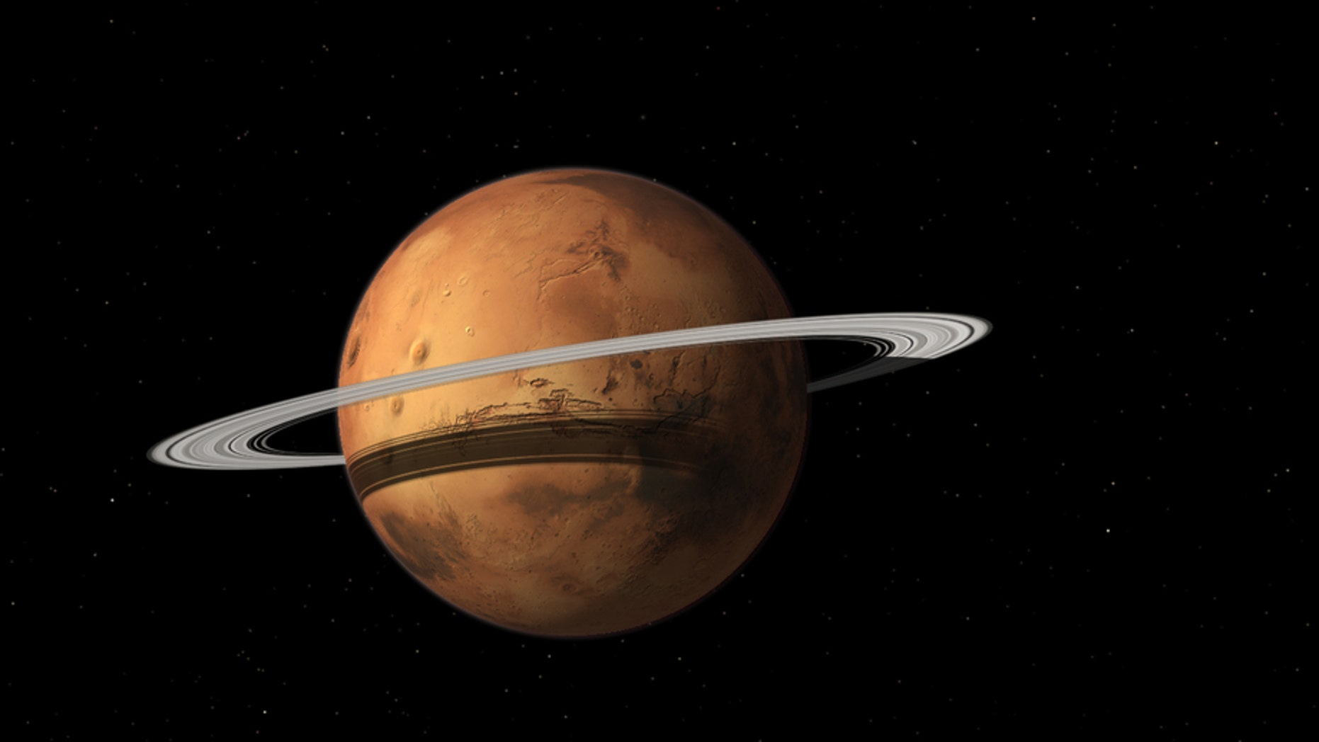 Re-add with new caption: Researchers think Mars' moon Phobos may someday reform into a ring around the rocky world. New work suggests that rocky planets with rings may be more common than previously thought, having been mistaken for another type of planet.