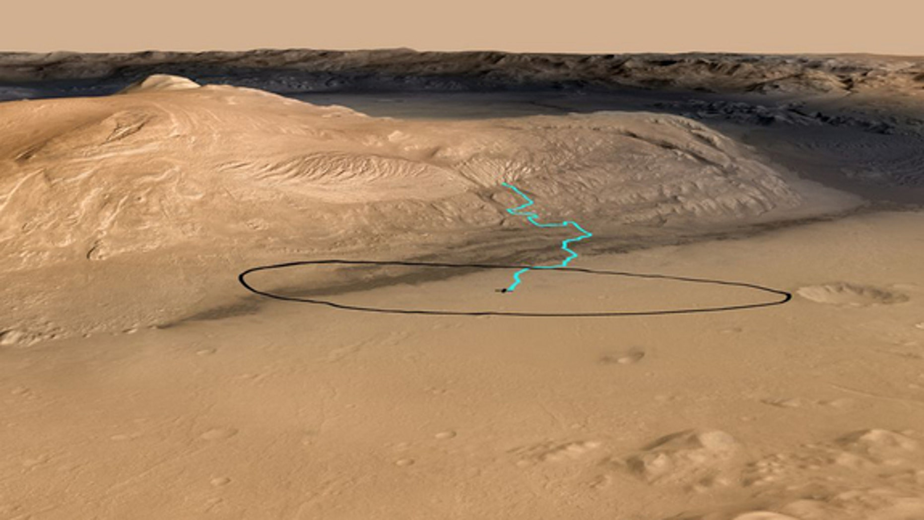 This NASA graphic released before the Mars rover Curiosity's Aug. 5, 2012, landing shows one possible route up the nearby Mount Sharp inside Gale Crater.The blue line indicates the potential driving route to geological destinations identified f