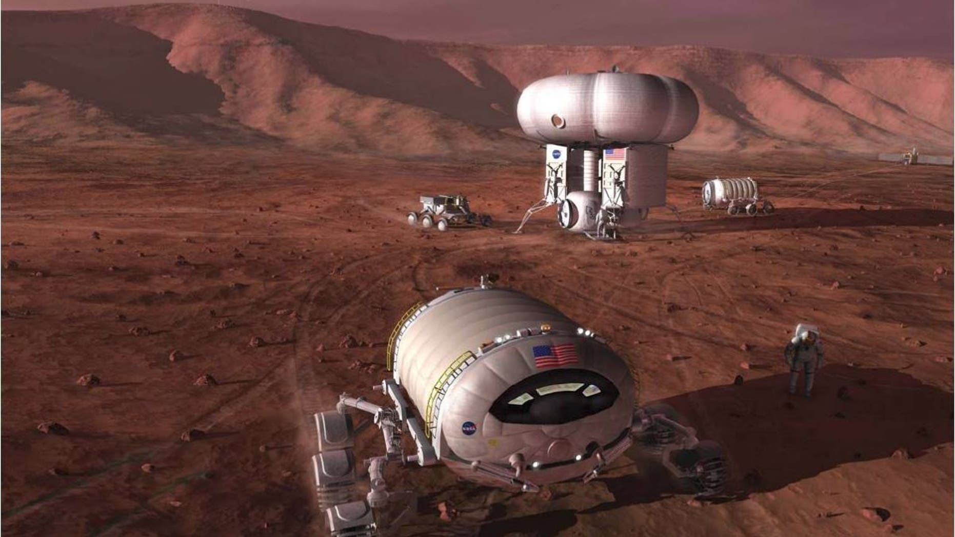 An artist's illustration of astronaut pioneers on Mars. Building a self-sustaining settlement on the Red Planet will require taking advantage of native Martian resources, exploration advocates stress.