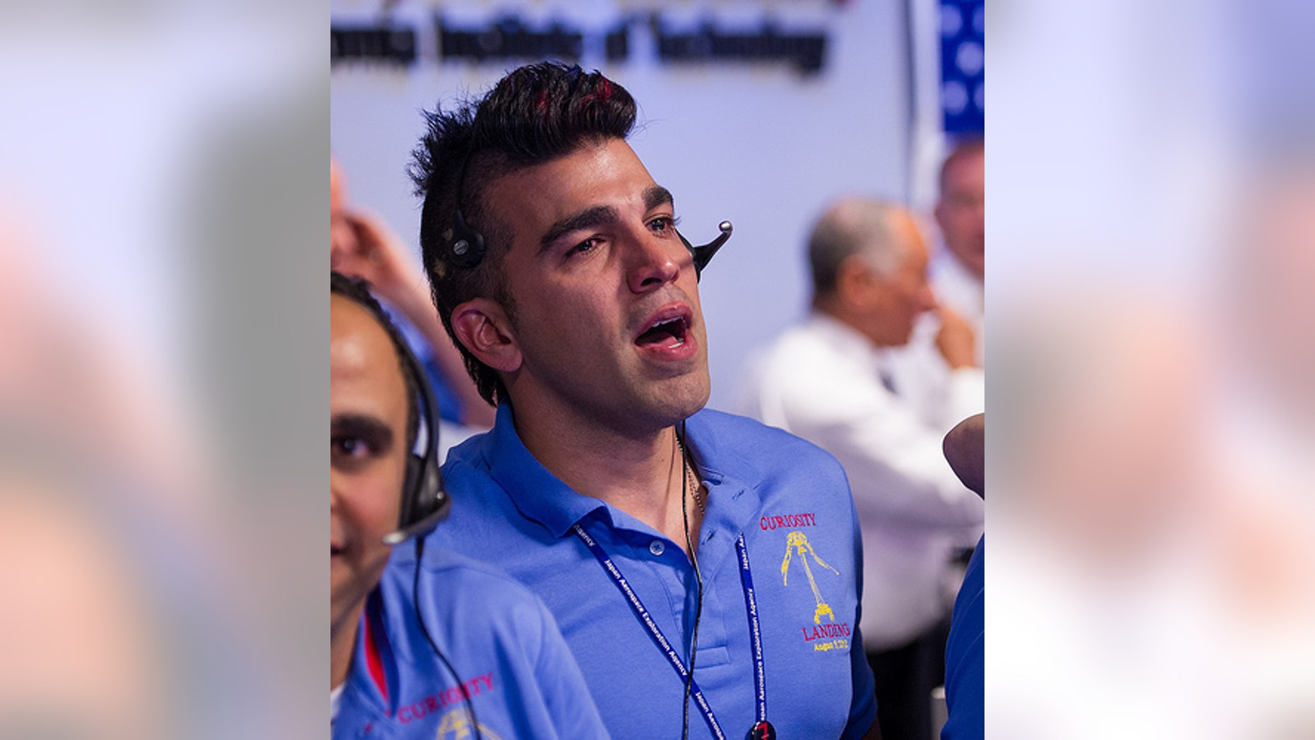 Mars Science Laboratory systems engineer Bobak Ferdowsi at the Jet Propulsion Laboratory in Pasadena, Calif., is seen reacting after the Curiosity rover successfully landed on Mars on Aug. 5, 2012 (PDT; Aug. 6 EDT).
