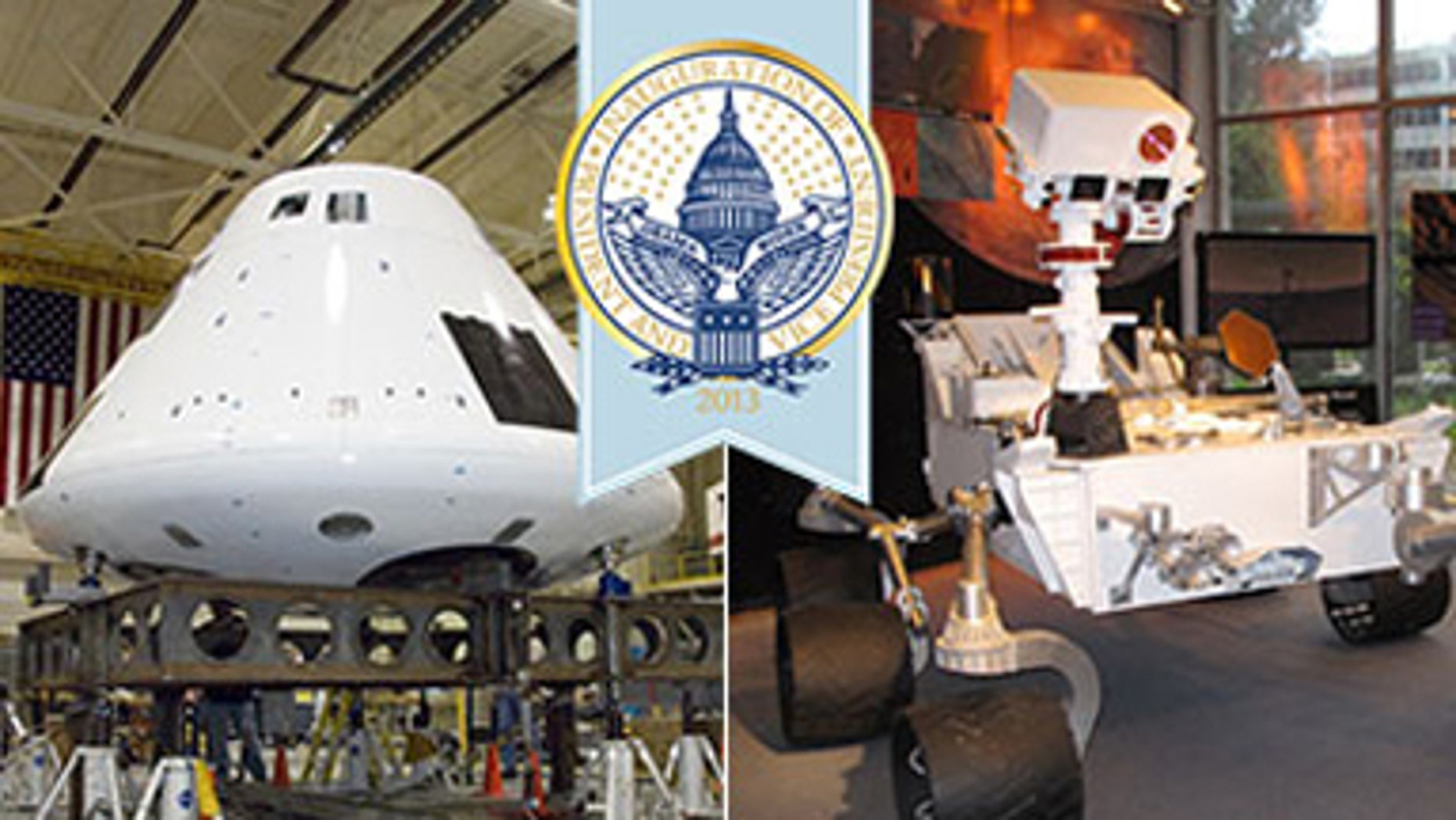 Full-sized models of the Orion spacecraft and the Mars Curiosity Rover will be on display during the inaugural parade (Jan. 21).