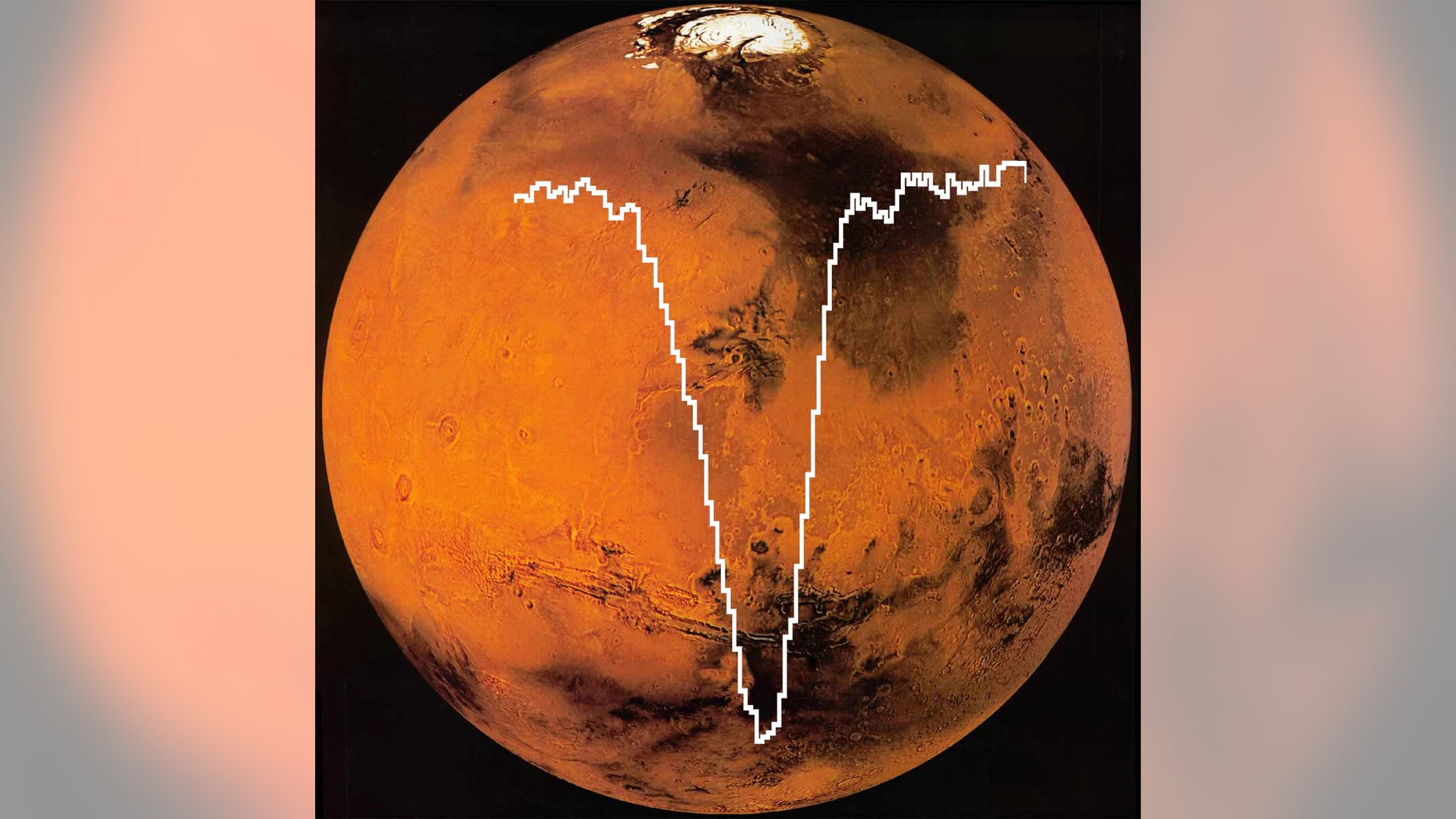 SOFIA/GREAT spectrum of oxygen [O I] superimposed on an image of Mars from the MAVEN mission. (NASA)