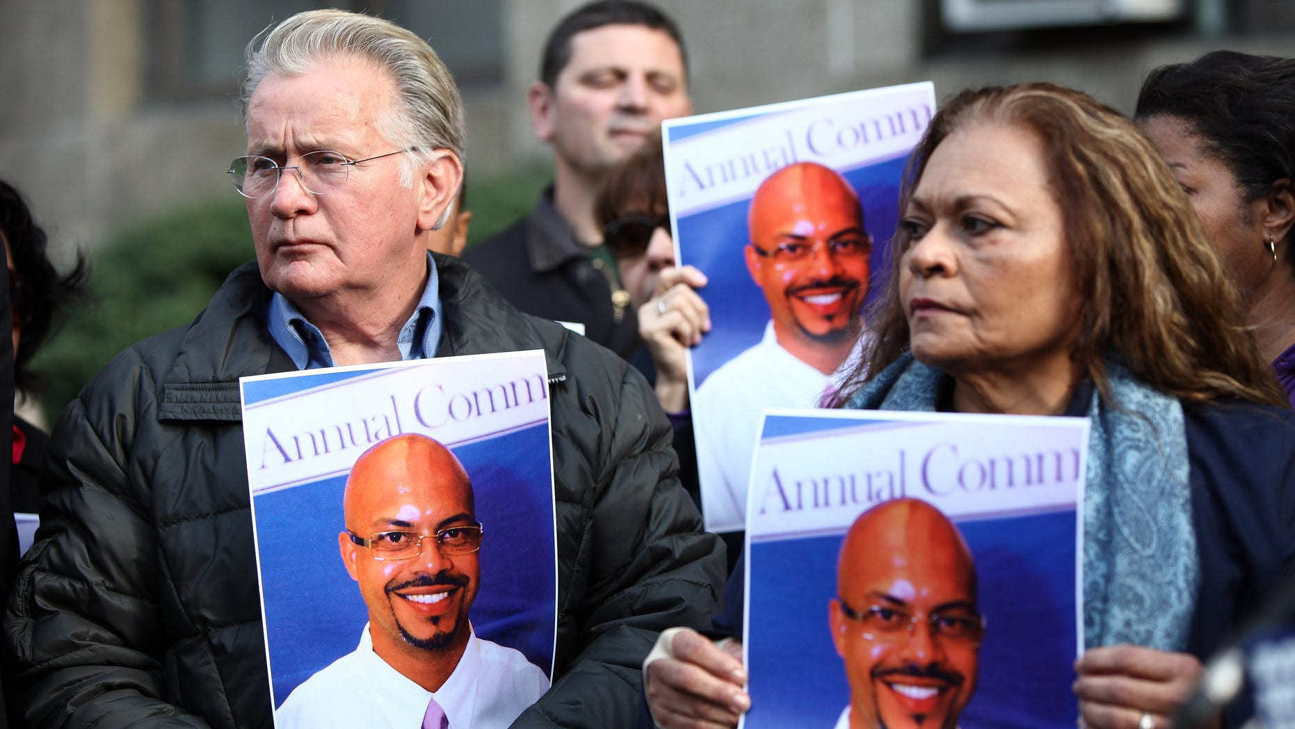 Dec. 5: Actor Martin Sheen and Maria Velazques, the mother of Jon-Adrian Velazquez, attends a press conference outside of Manhattan Criminal Court in New York City.