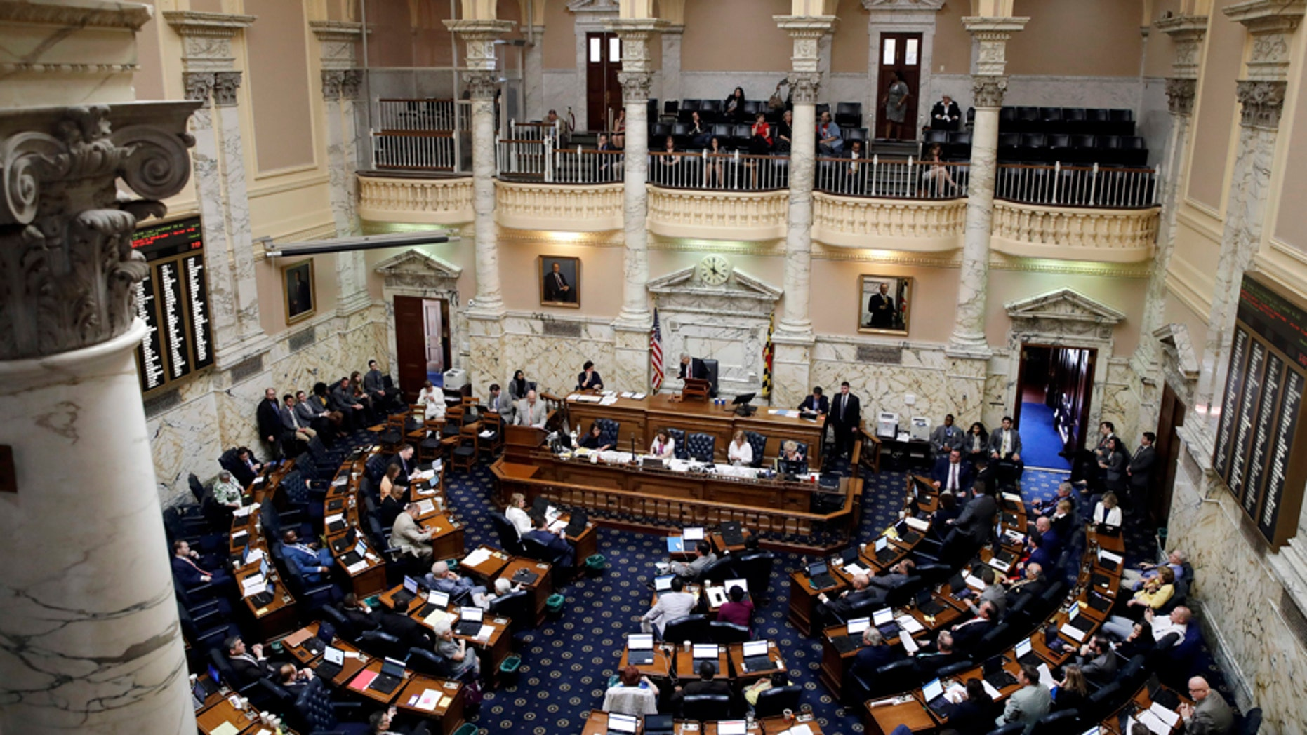 April 10, 2017: Members of the Maryland House of Delegates meet in the house chamber on the final day of the Maryland legislative session in Annapolis, Md.