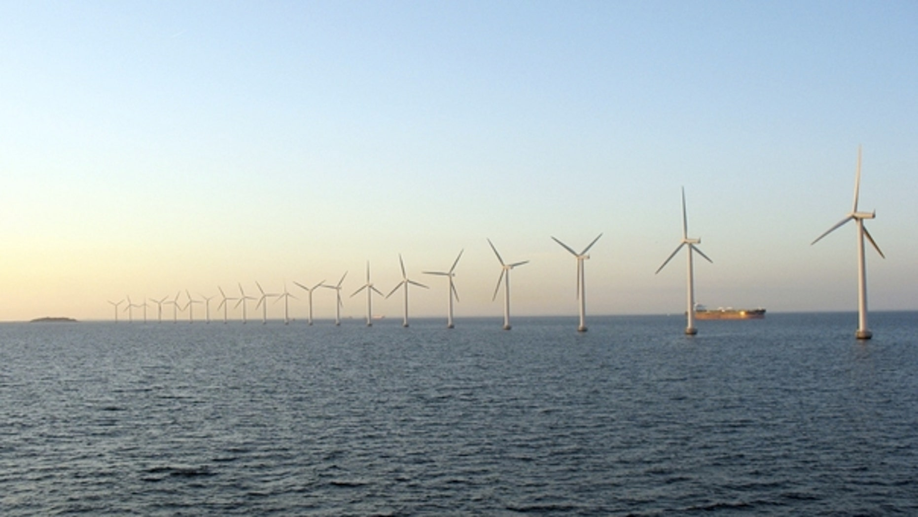 An artist's rendering of what the Cape Wind Project in Nantucket Sound would look like.