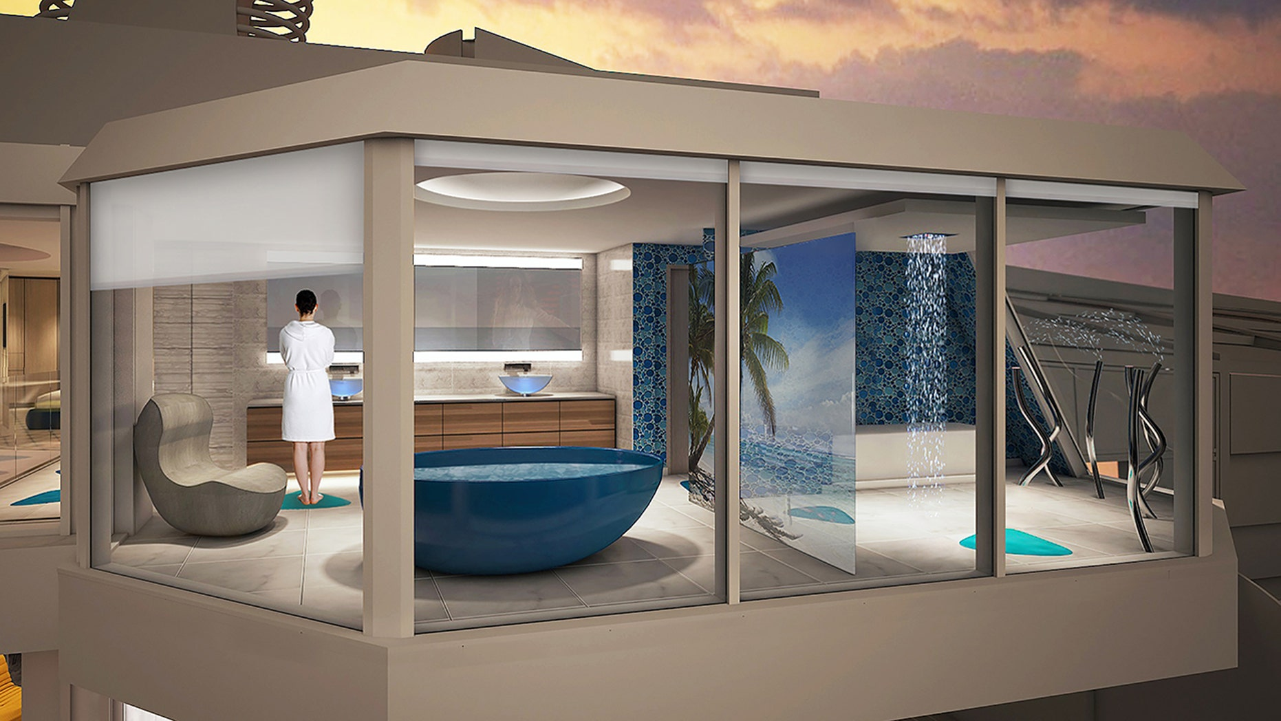 The Spectrum of the Seas will offer select guests the chance to bathe over the sea.