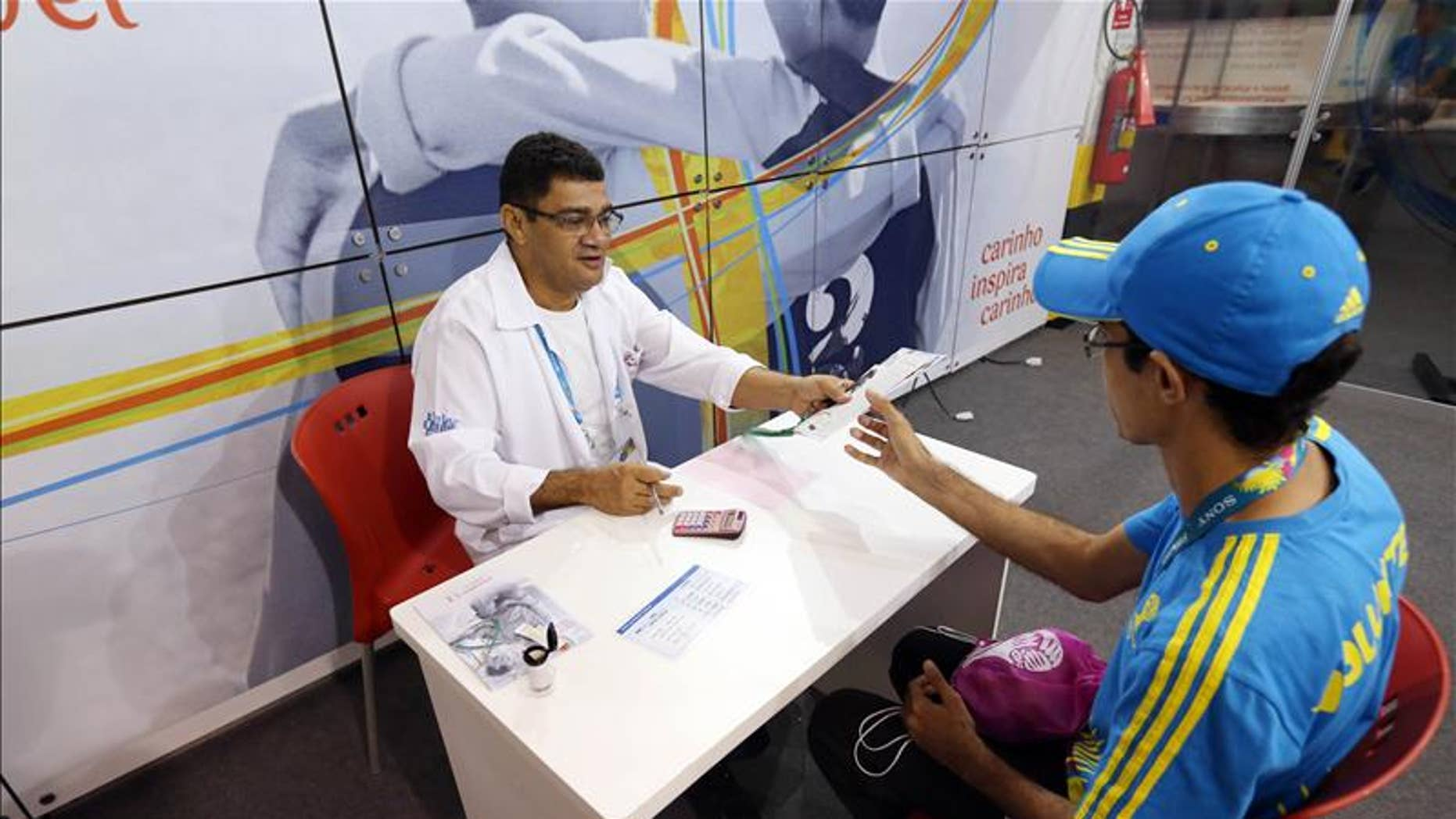 A health screening in progress at one of the Volunteer Centers at the World Cup in Brazil. (FIFA via Action Images)