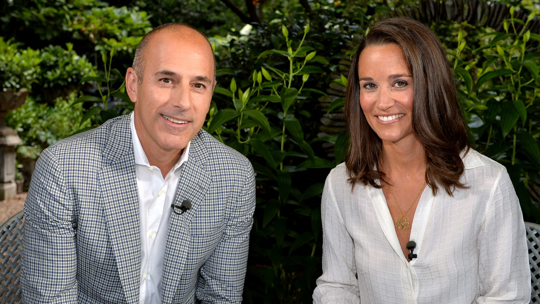 "This undated image released by NBC shows Matt Lauer, co-host of the ""Today"" show with Pippa Middleton in London."