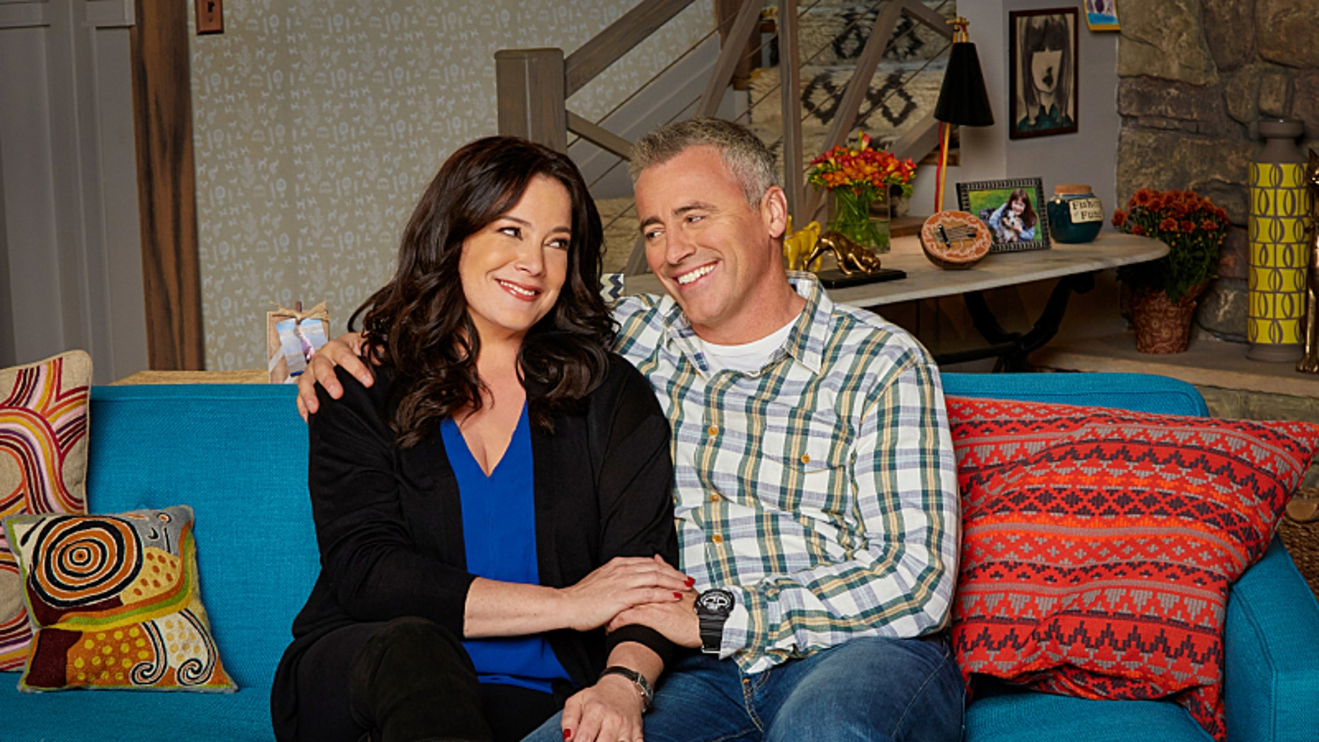 Liza Snyder as Andi and Matt LeBlanc of the CBS series MAN WITH A PLAN on the CBS Television Network