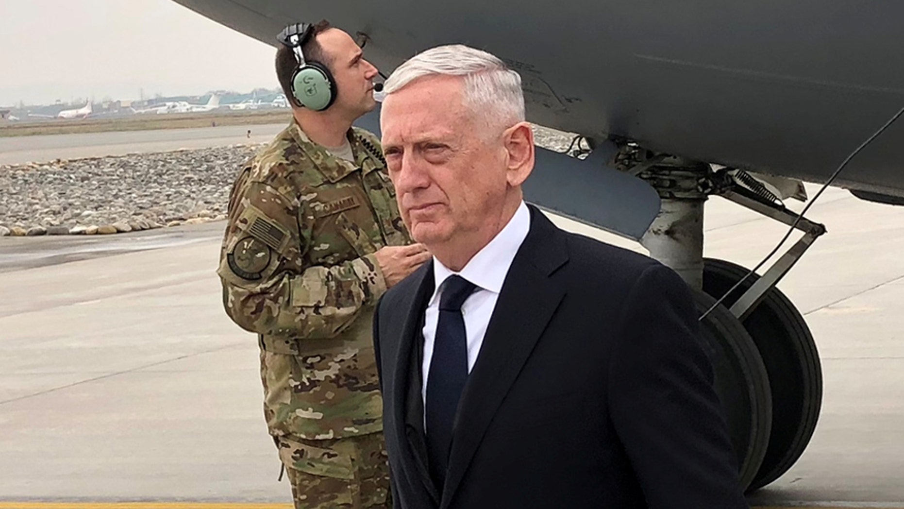 U.S. Defense Secretary Jim Mattis lands in Kabul on March 13, 2018 on an unannounced trip to Afghanistan.