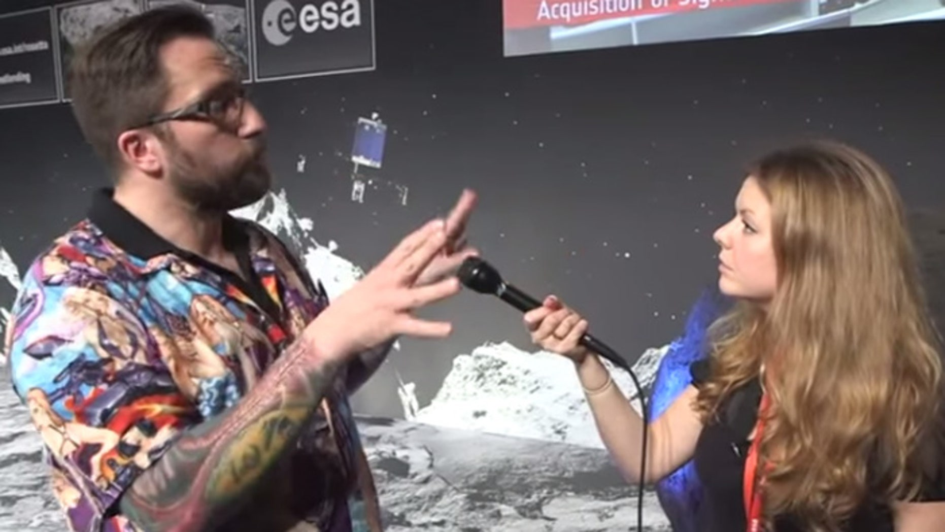 The shirt seen round the world: British scientist Matt Taylor wore this garish Hawaiian shirt for a TV interview. (Reuters)
