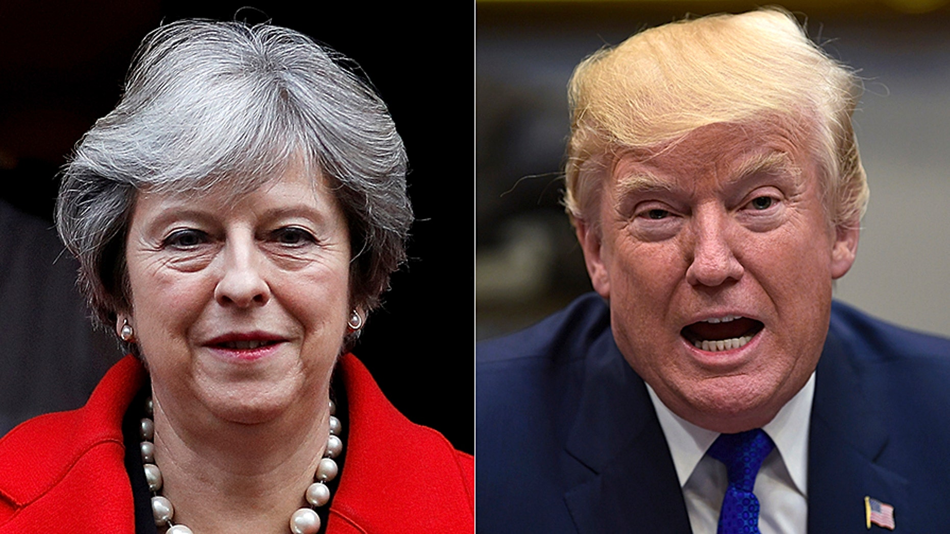British Prime Minister Theresa May, left, condemned President Trump, right, for sharing anti-Muslim posts.