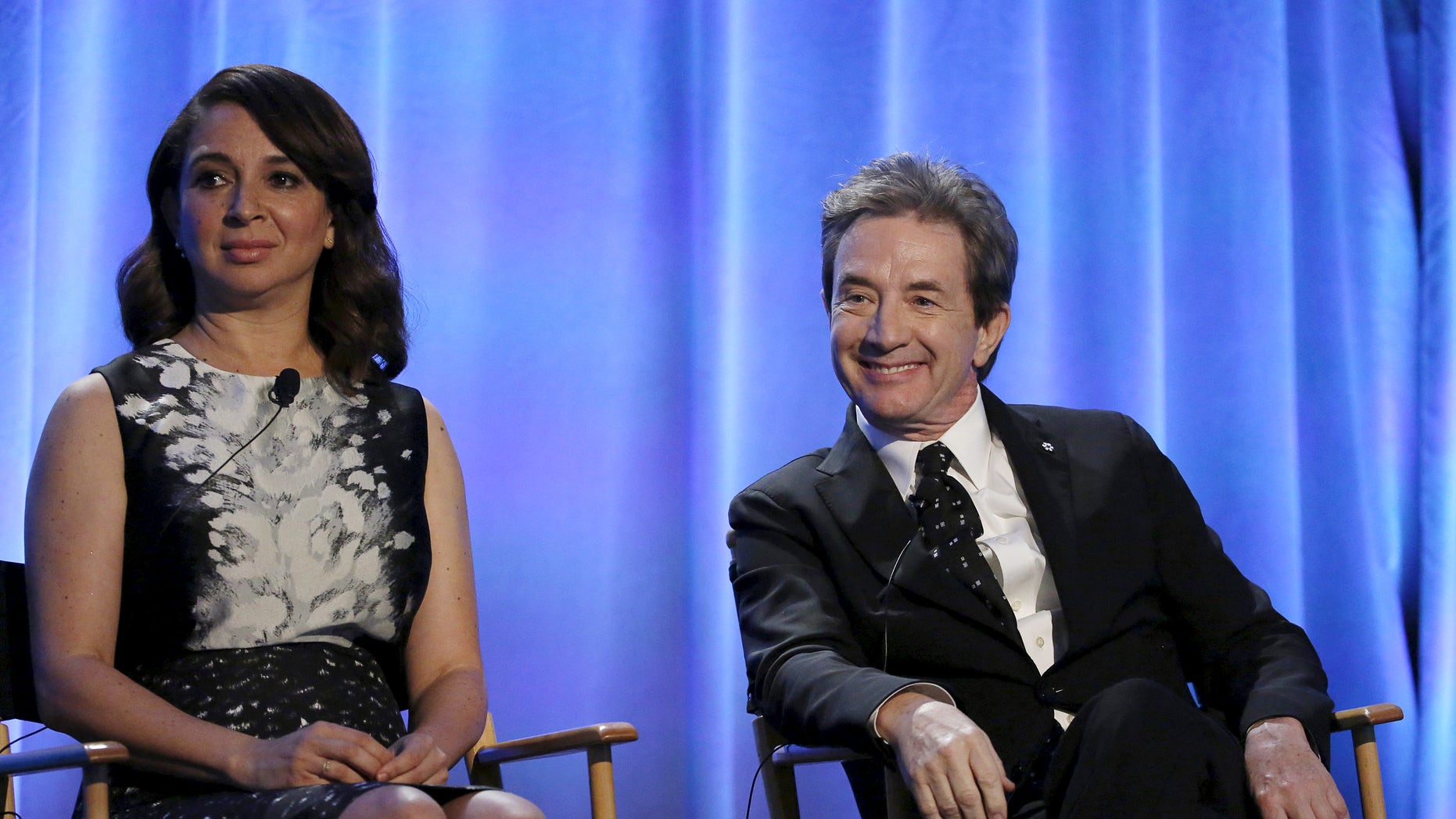 """Producers and hosts Martin Short and Maya Rudolph attend a panel for the television series """"Maya & Marty"""" during the NBCUniversal summer press day in Westlake Village, California April 1, 2016.    REUTERS/Mario Anzuoni - RTSD7T7"""