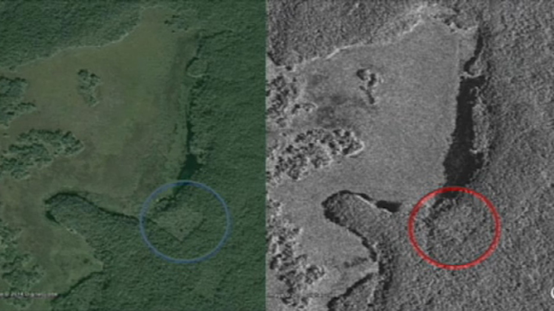 These undated images show possible man-made structures in Mexico's Yucatan Peninsula that may be a lost Mayan city