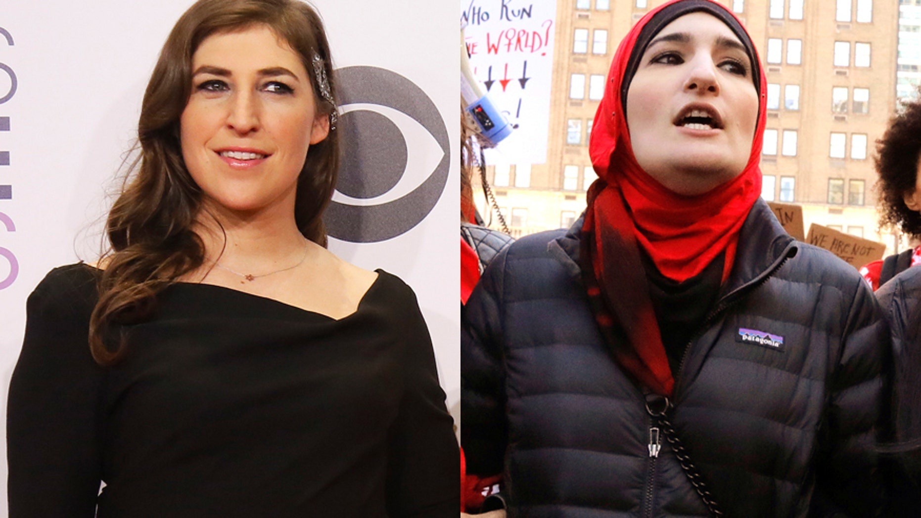 Actress Mayim Bialik (left) and Palestinian activist Linda Sarsour.