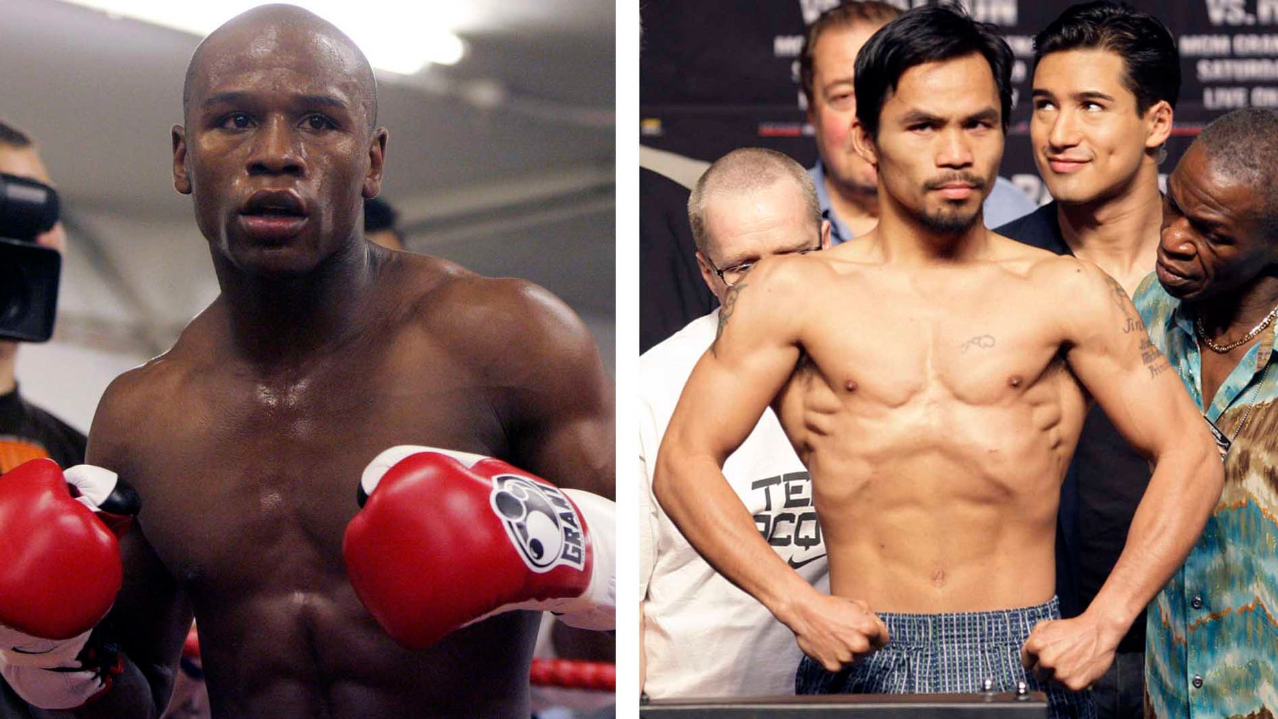 Floyd Mayweather Jr. will meet Manny Pacquiao on May 2, 2015 in a welterweight showdown that will be boxing's richest fight ever. Mayweather himself announced the bout Friday, Feb. 20, 2015 after months of negotiations, posting a picture of the signed contract online. (AP Photos/Alastair Grant and Rick Bowmer, File)