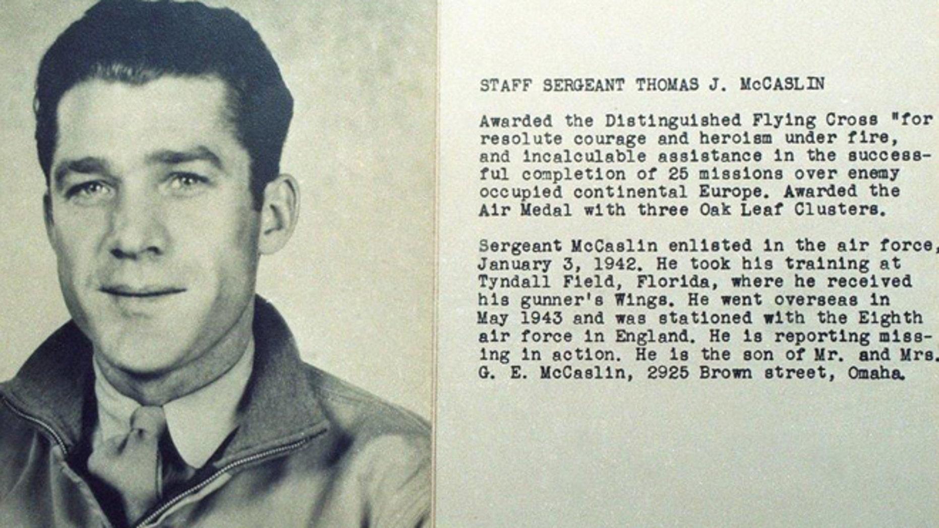 B-26 tail gunner Tom McCaslin, killed in June 22, 1944, crash near Caen, France (Omaha World Herald)