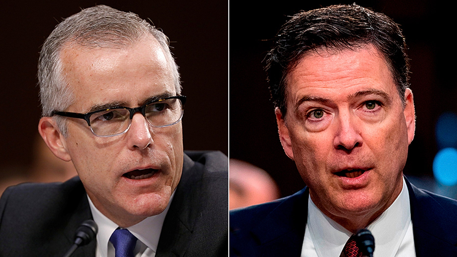 Former FBI Director James Comey, right, triggered the inspector general investigation that led to the firing of former FBI Deputy Director Andrew McCabe, left.
