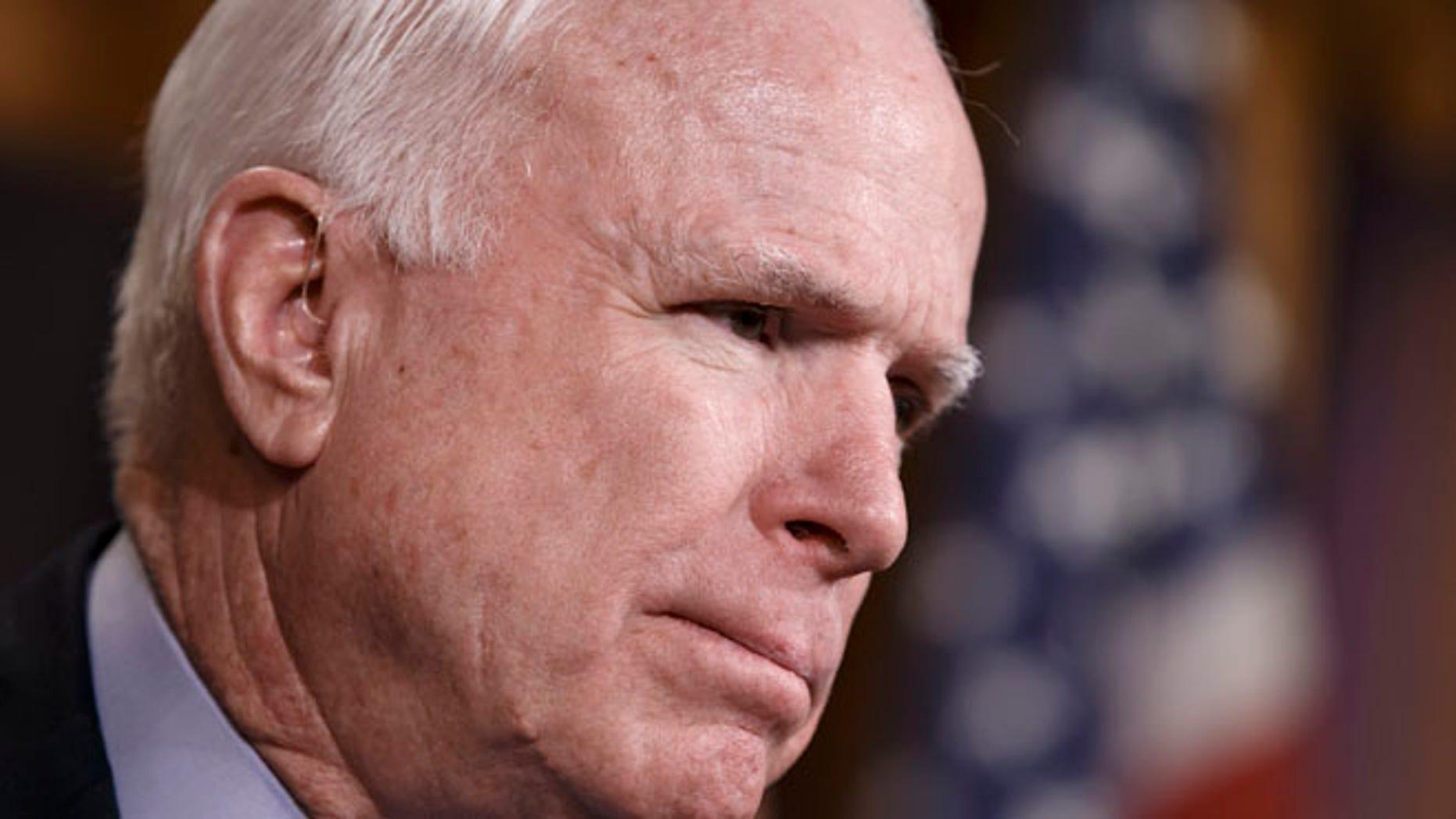 Feb. 5, 2015: Sen. John McCain, R-Ariz., speaks on Capitol Hill in Washington.