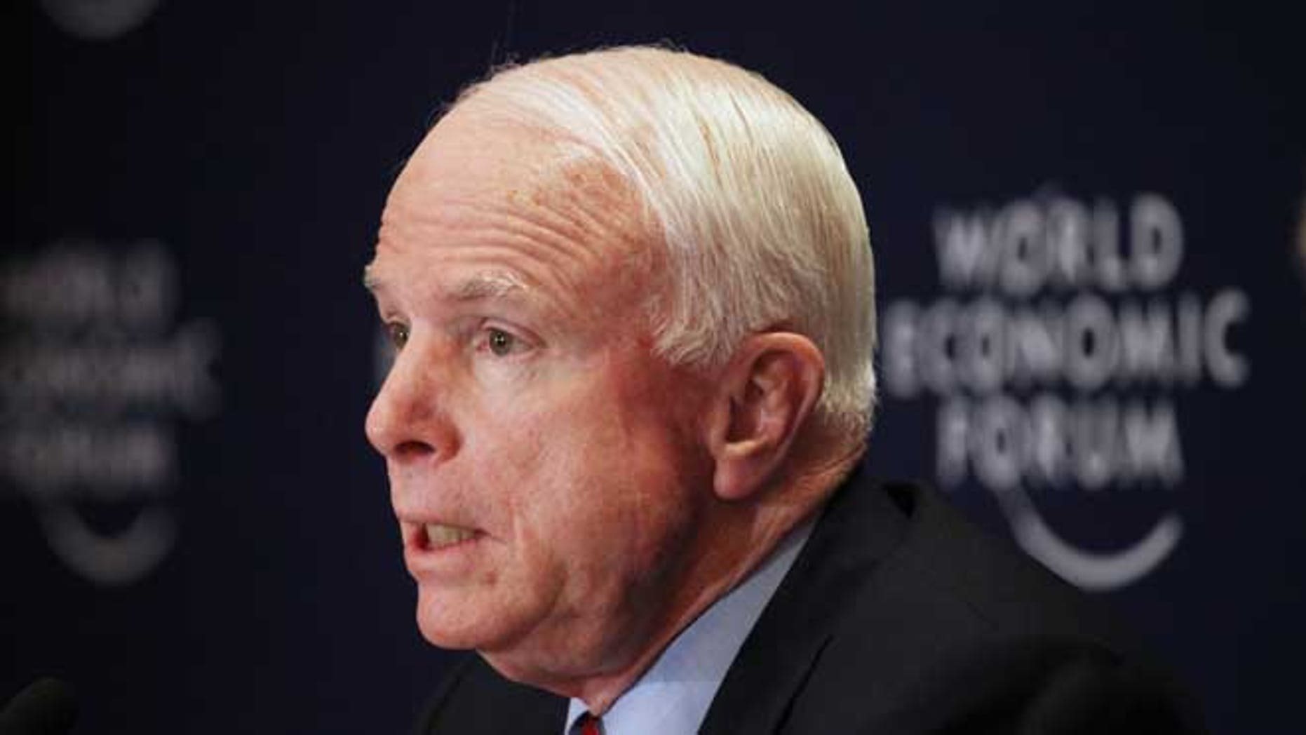 May 25, 2013. Sen. John McCain speaks at a news conference at the World Economic Forum held southeast of Amman, Jordan. McCain has quietly slipped into Syria for a meeting with Syrian rebels, spokeswoman Rachael Dean confirmed Monday, May 27, 2013.