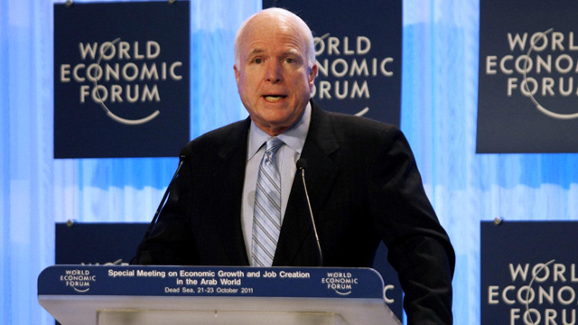 Oct. 23, 2011: U.S. Sen. John McCain speaks during the World Economic Forum meeting in the King Hussein Bin Talal convention center at the Dead Sea, 34 miles southeast of Amman, Jordan.