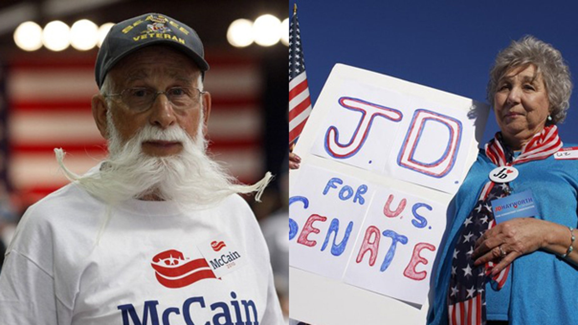 Supporters for Arizona Republican Senate primary opponents John McCain and J.D. Hayworth come out to cheer on their candidates. (Reuters/AP)