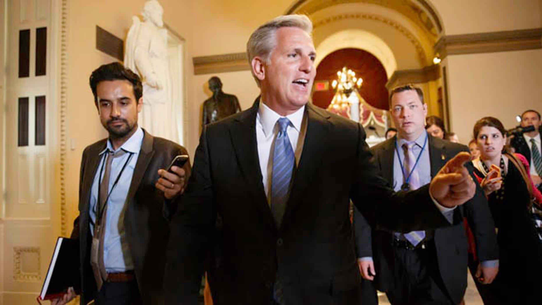 June 11, 2014: House Majority Whip Kevin McCarthy leaves House Speaker John Boehner's office on Capitol Hill in Washington.