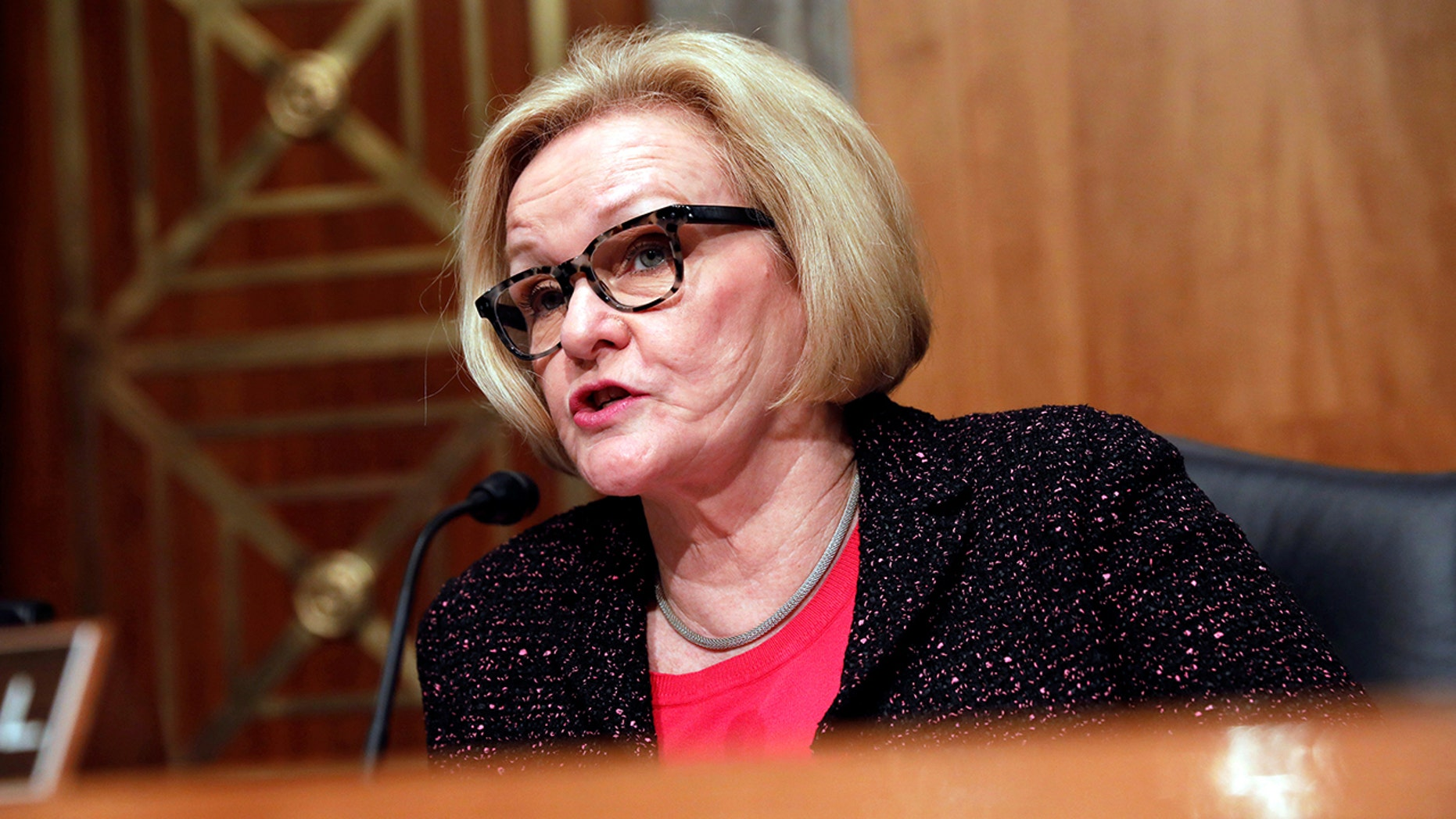 Ranking Member Sen. Claire McCaskill, D-Mo., speaks prior to Homeland Security Secretary John Kelly testifying before a Senate Homeland Security and Governmental Affairs hearing on border security on Capitol Hill in Washington, D.C