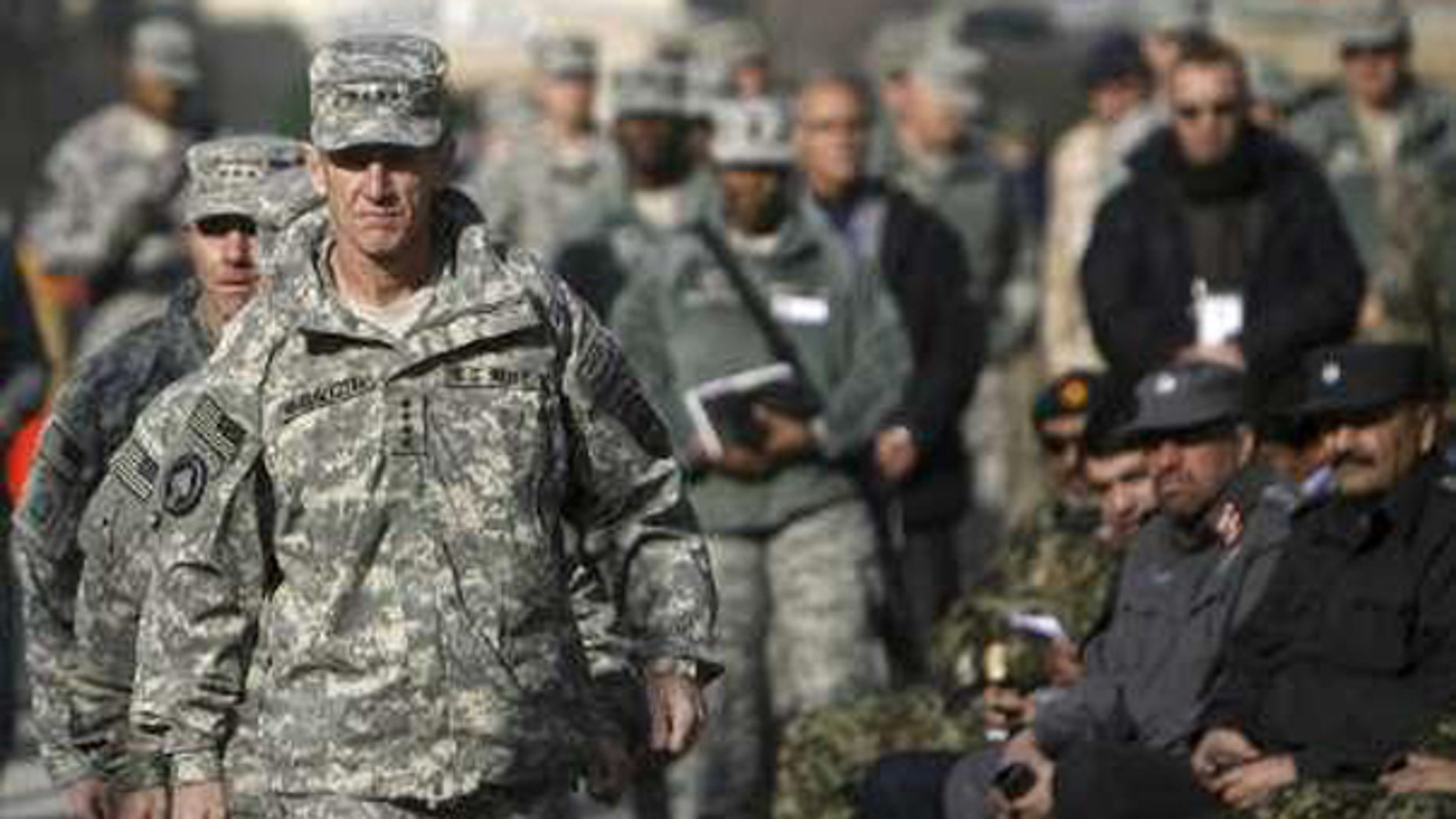 Saturday: Gen. Stanley McChrystal arrives at a ceremony in Kabul. (Reuters Photo)