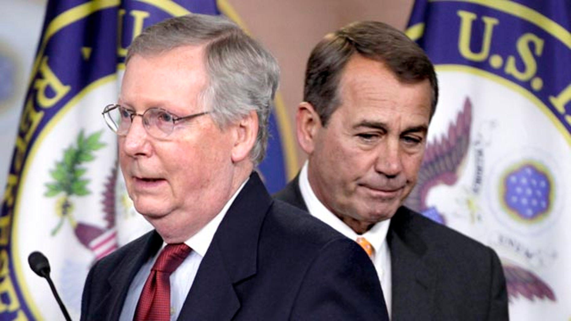 Nov. 3: House speaker-in-waiting John Boehner and Senate Minority Leader Mitch McConnell during a news conference on Capitol Hill in Washington. The White House postponed a meeting with bipartisan congressional leaders to Nov. 30 after top Republicans said they had a scheduling conflict.