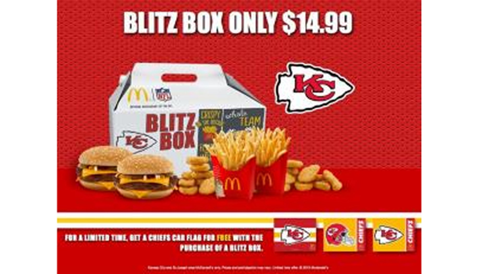 "The ""Blitz Box"" includes two Quarter Pounders with cheese, two medium fries and 10 Chicken McNuggets with dipping sauces."