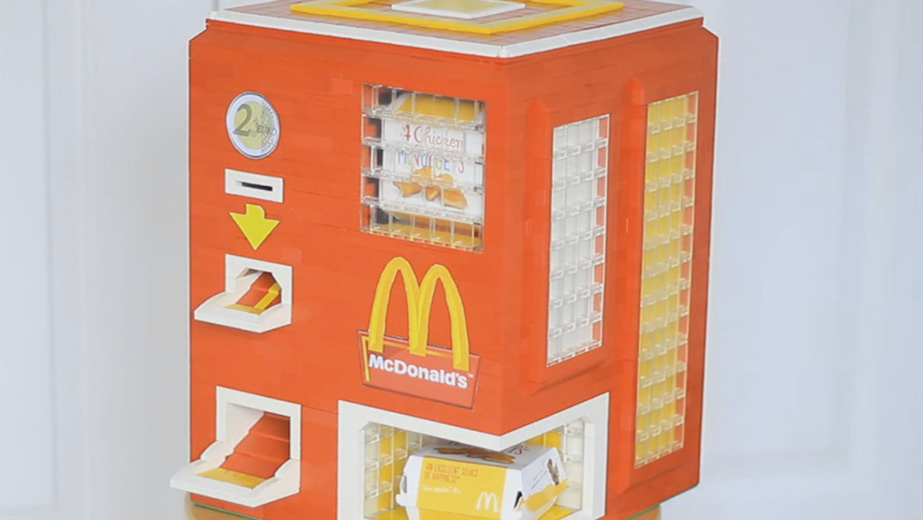 The Lego builders over at YouTube channel Astonishing Studios made a dispenser that gives out an order of chicken nuggets with dipping sauce.